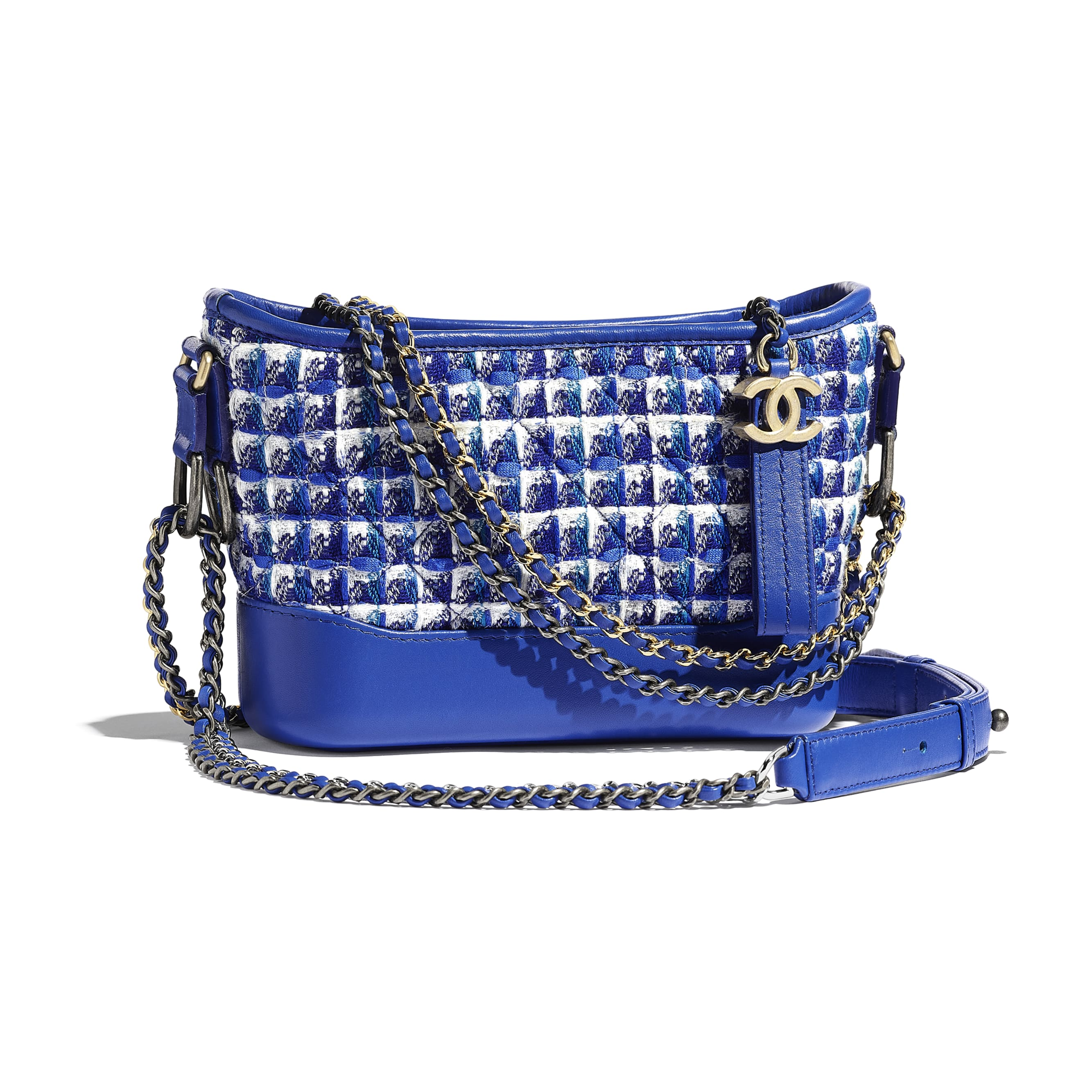 CHANEL'S GABRIELLE Small Hobo Bag - Blue, White & Silver - Tweed, Calfskin, Silver-Tone & Gold-Tone Metal - CHANEL - Default view - see standard sized version