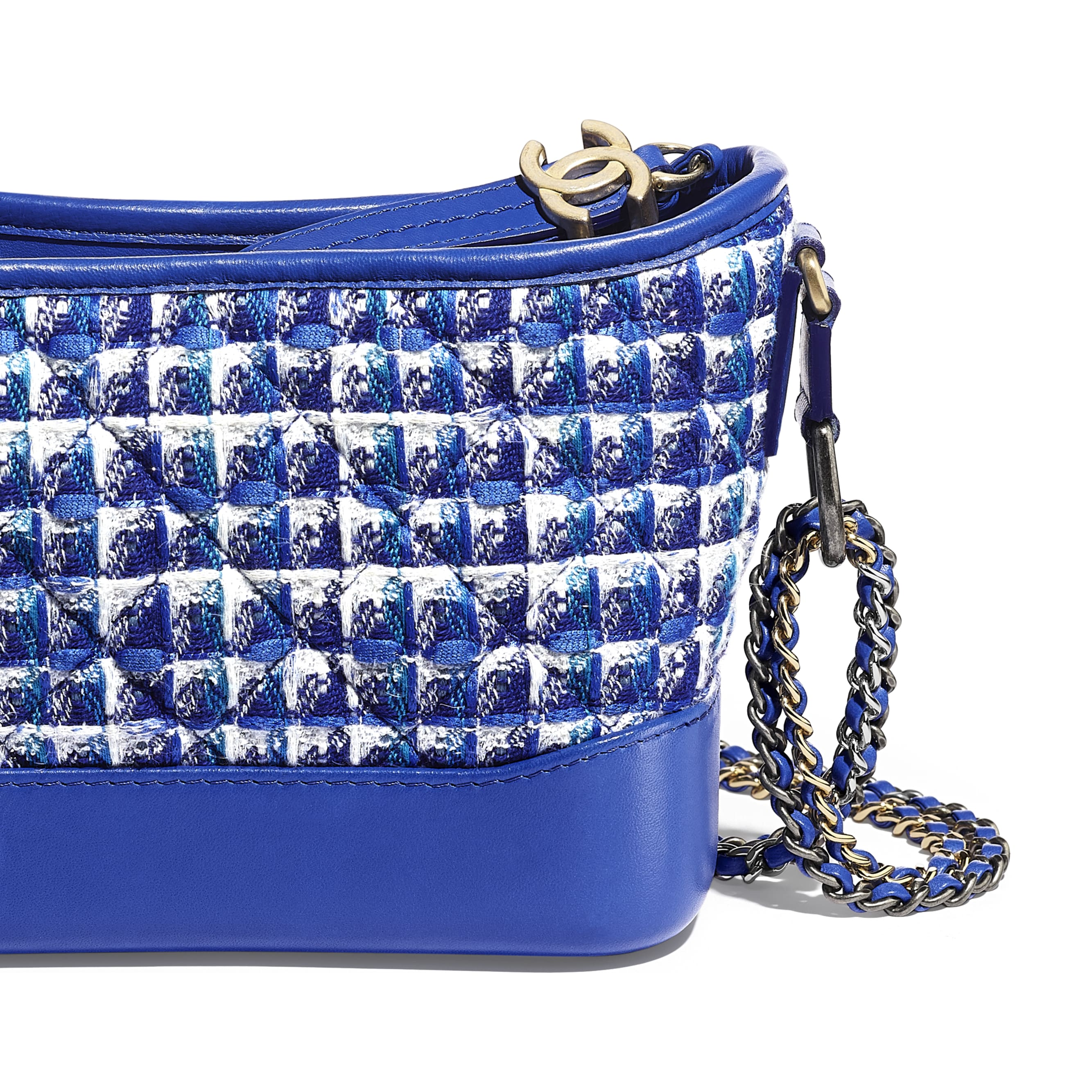 CHANEL'S GABRIELLE Small Hobo Bag - Blue, White & Silver - Tweed, Calfskin, Silver-Tone & Gold-Tone Metal - CHANEL - Extra view - see standard sized version