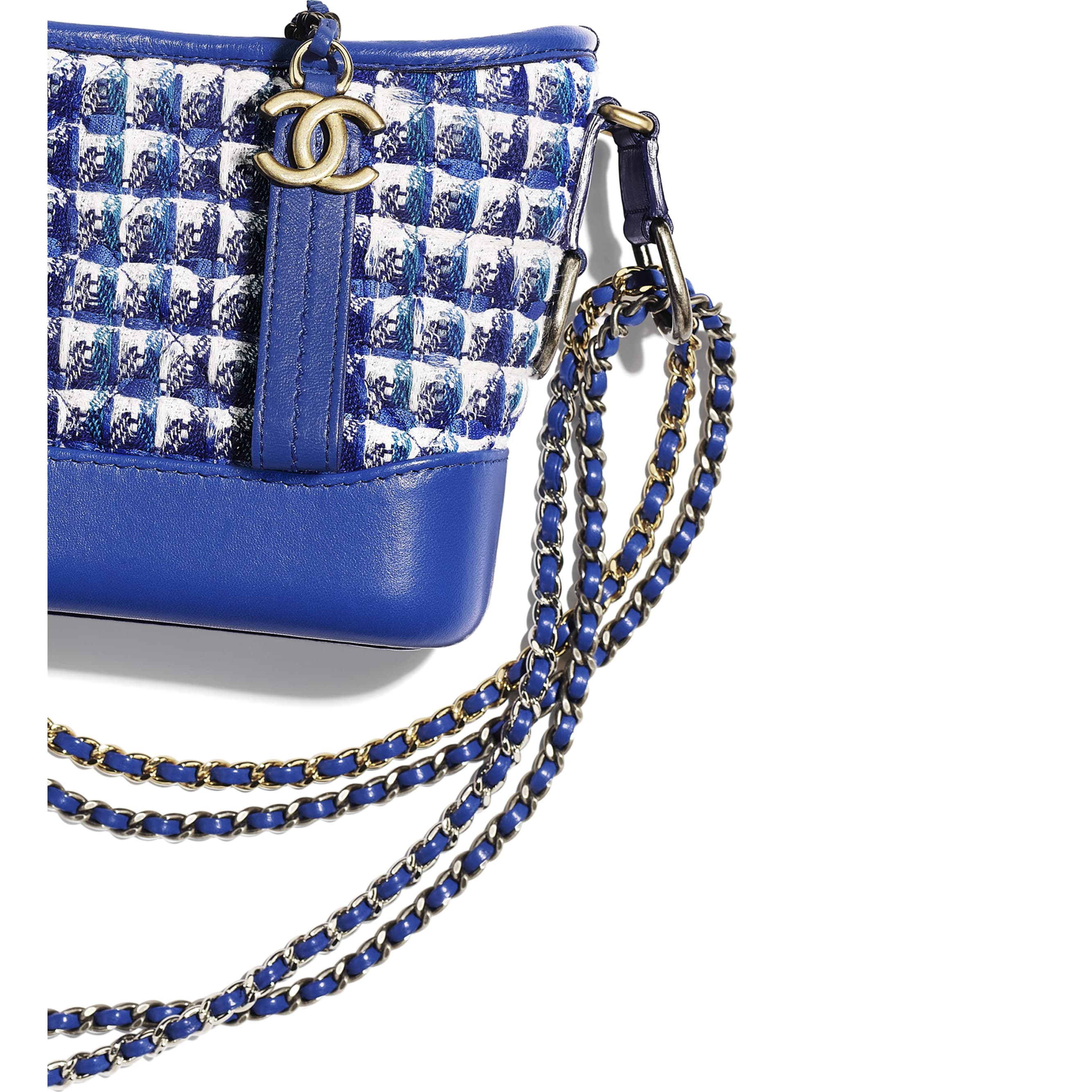 CHANEL'S GABRIELLE Small Hobo Bag - Blue, White & Silver - Tweed, Calfskin, Silver-Tone & Gold-Tone Metal - CHANEL - Other view - see standard sized version