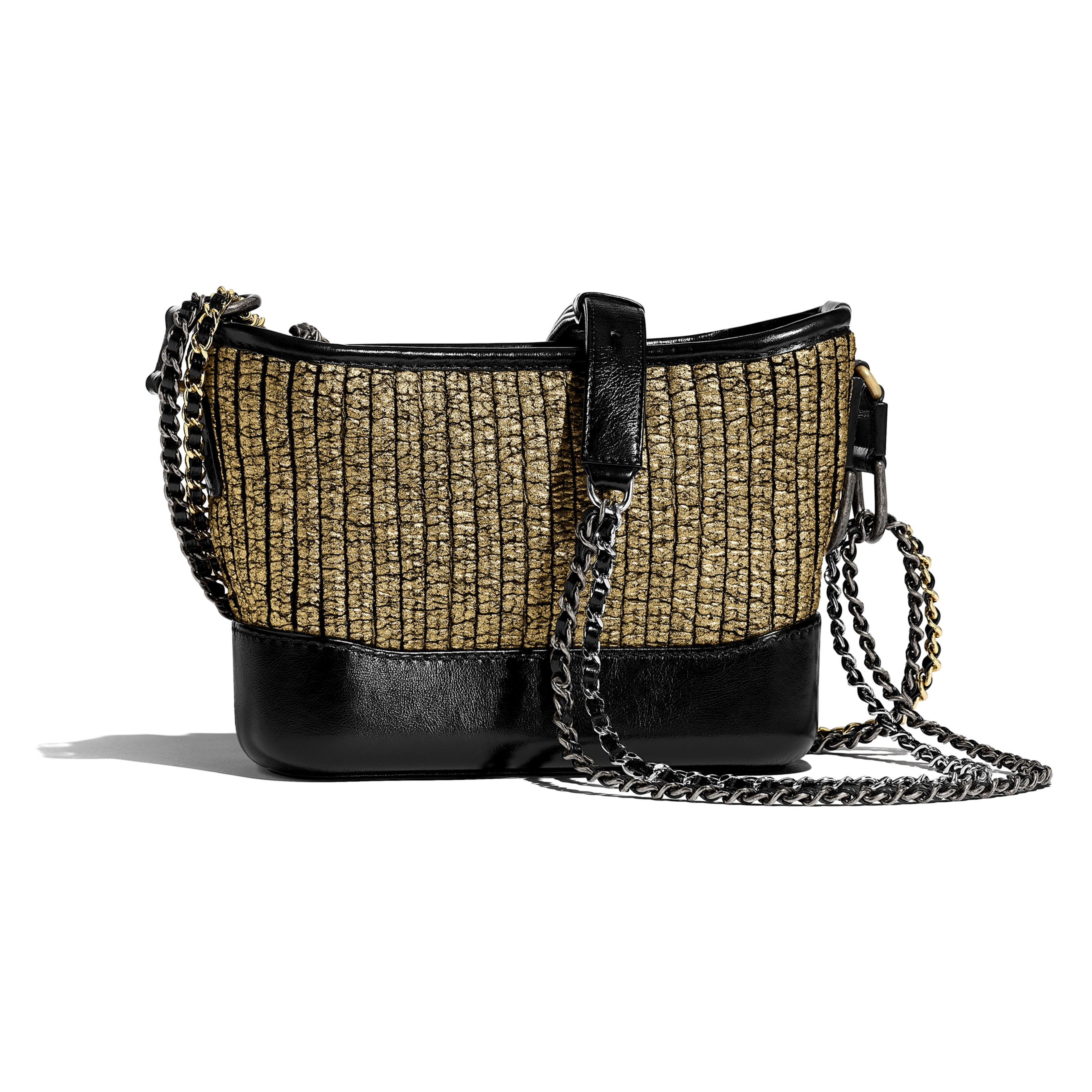 CHANEL'S GABRIELLE Small Hobo Bag - Gold & Black - Tweed, Calfskin, Gold-Tone & Silver-Tone Metal - Alternative view - see standard sized version