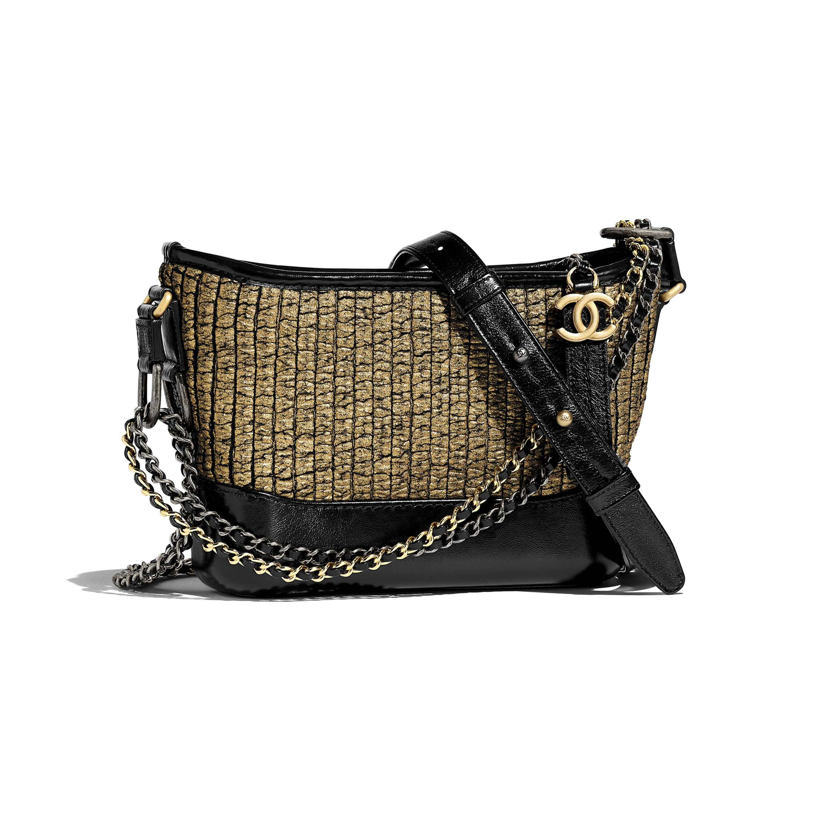 CHANEL'S GABRIELLE Small Hobo Bag - Gold & Black - Tweed, Calfskin, Gold-Tone & Silver-Tone Metal - CHANEL - Default view - see standard sized version