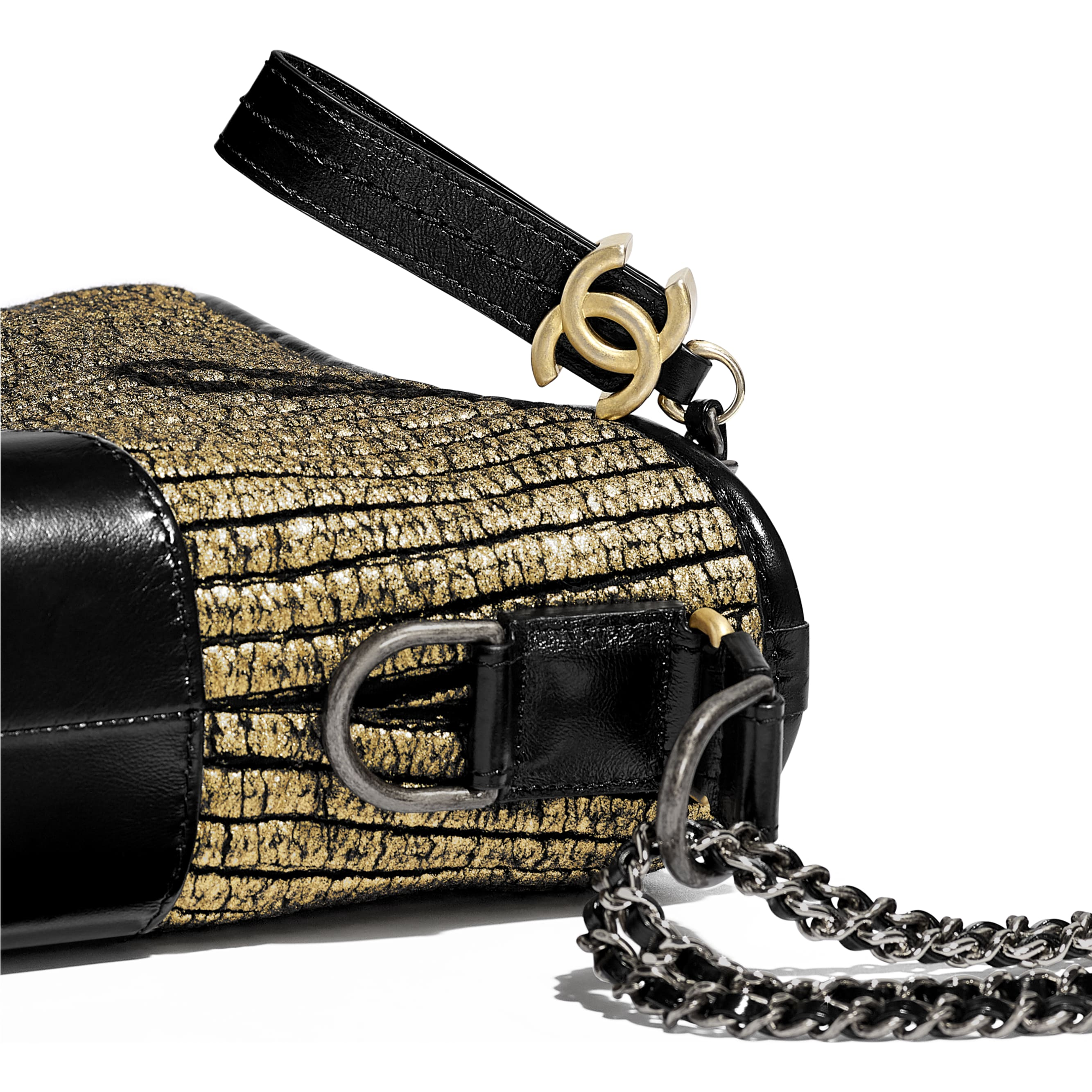 CHANEL'S GABRIELLE Small Hobo Bag - Gold & Black - Tweed, Calfskin, Gold-Tone & Silver-Tone Metal - CHANEL - Extra view - see standard sized version
