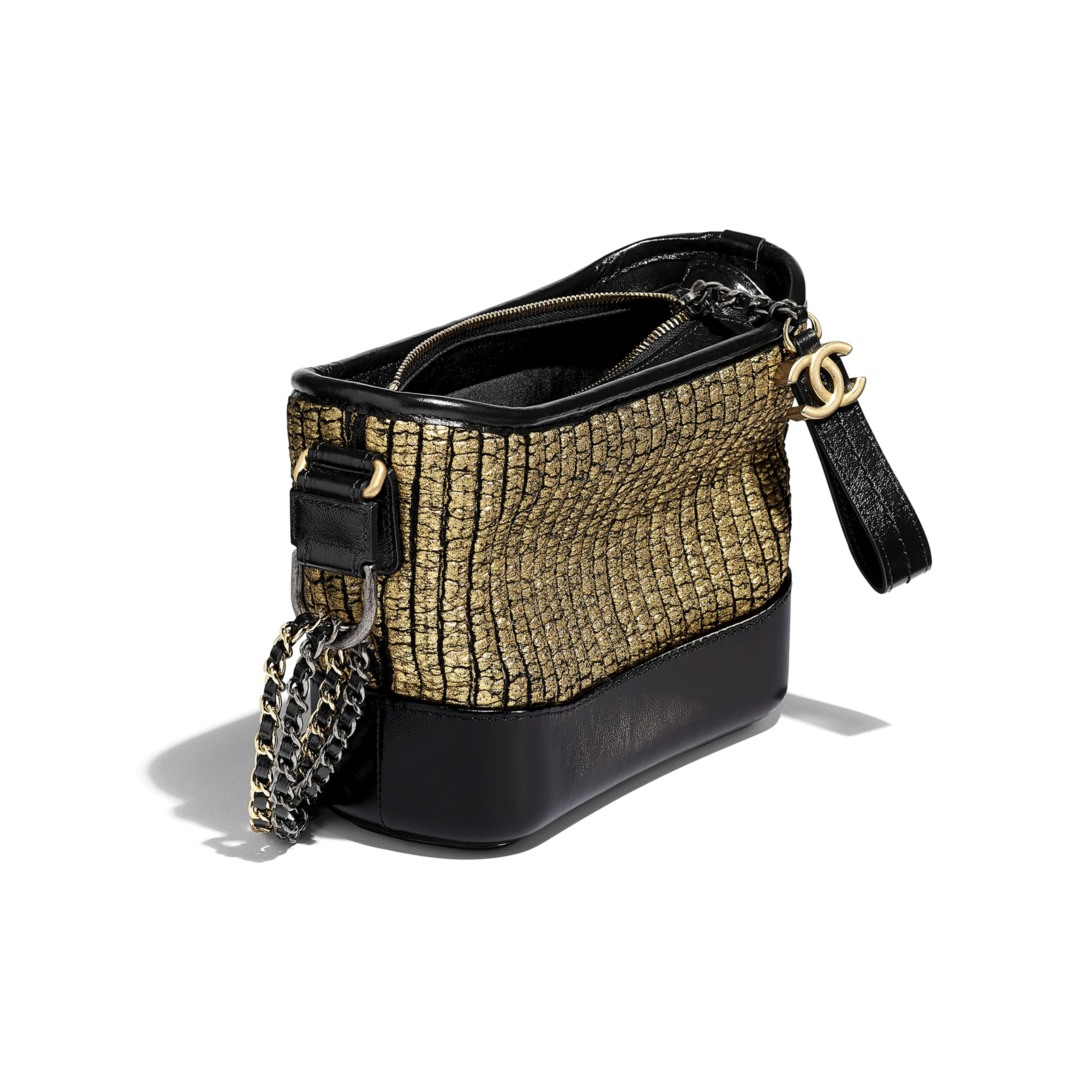CHANEL'S GABRIELLE Small Hobo Bag - Gold & Black - Tweed, Calfskin, Gold-Tone & Silver-Tone Metal - CHANEL - Other view - see standard sized version