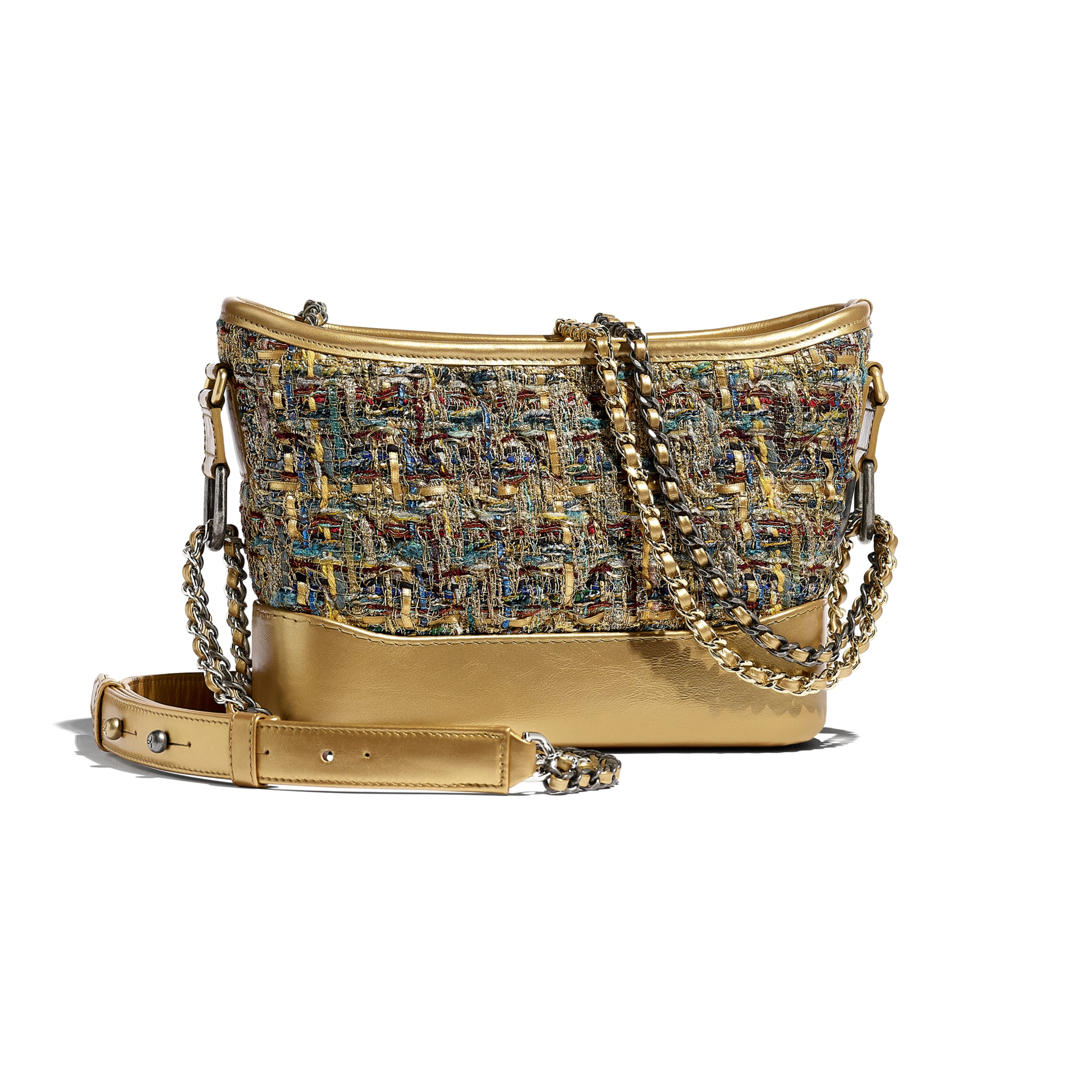 CHANEL'S GABRIELLE Small Hobo Bag - Gold, Blue & Green - Tweed, Calfskin, Gold-Tone & Silver-Tone Metal - Alternative view - see standard sized version