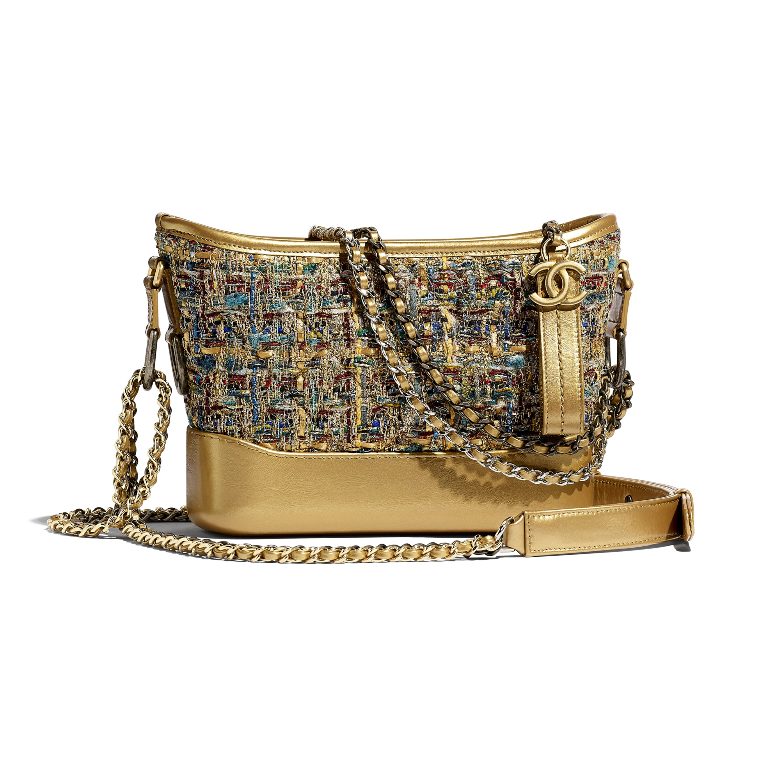 CHANEL'S GABRIELLE Small Hobo Bag - Gold, Blue & Green - Tweed, Calfskin, Gold-Tone & Silver-Tone Metal - Default view - see standard sized version