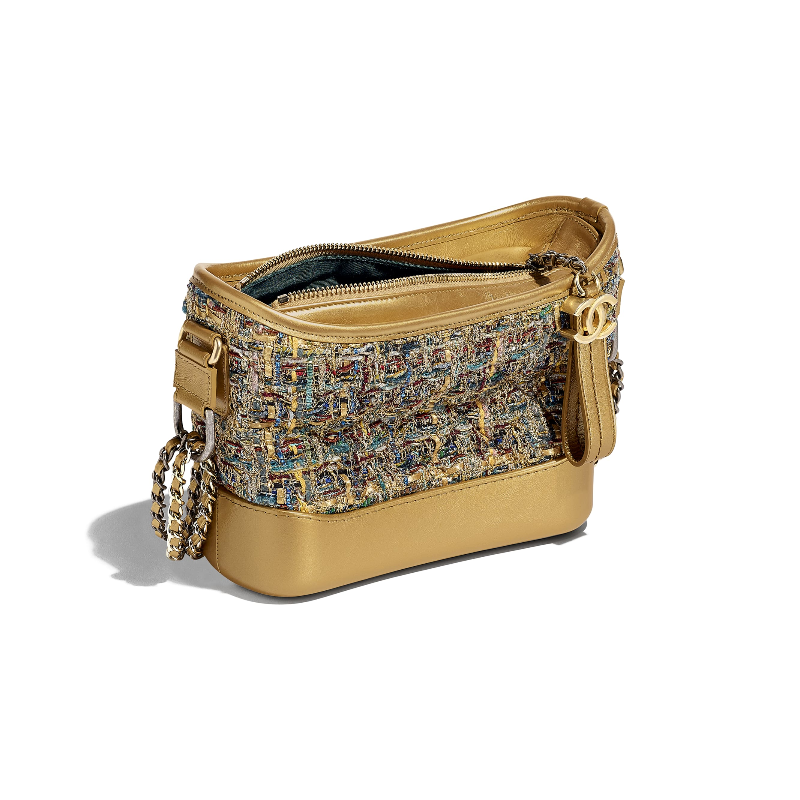 CHANEL'S GABRIELLE Small Hobo Bag - Gold, Blue & Green - Tweed, Calfskin, Gold-Tone & Silver-Tone Metal - Other view - see standard sized version