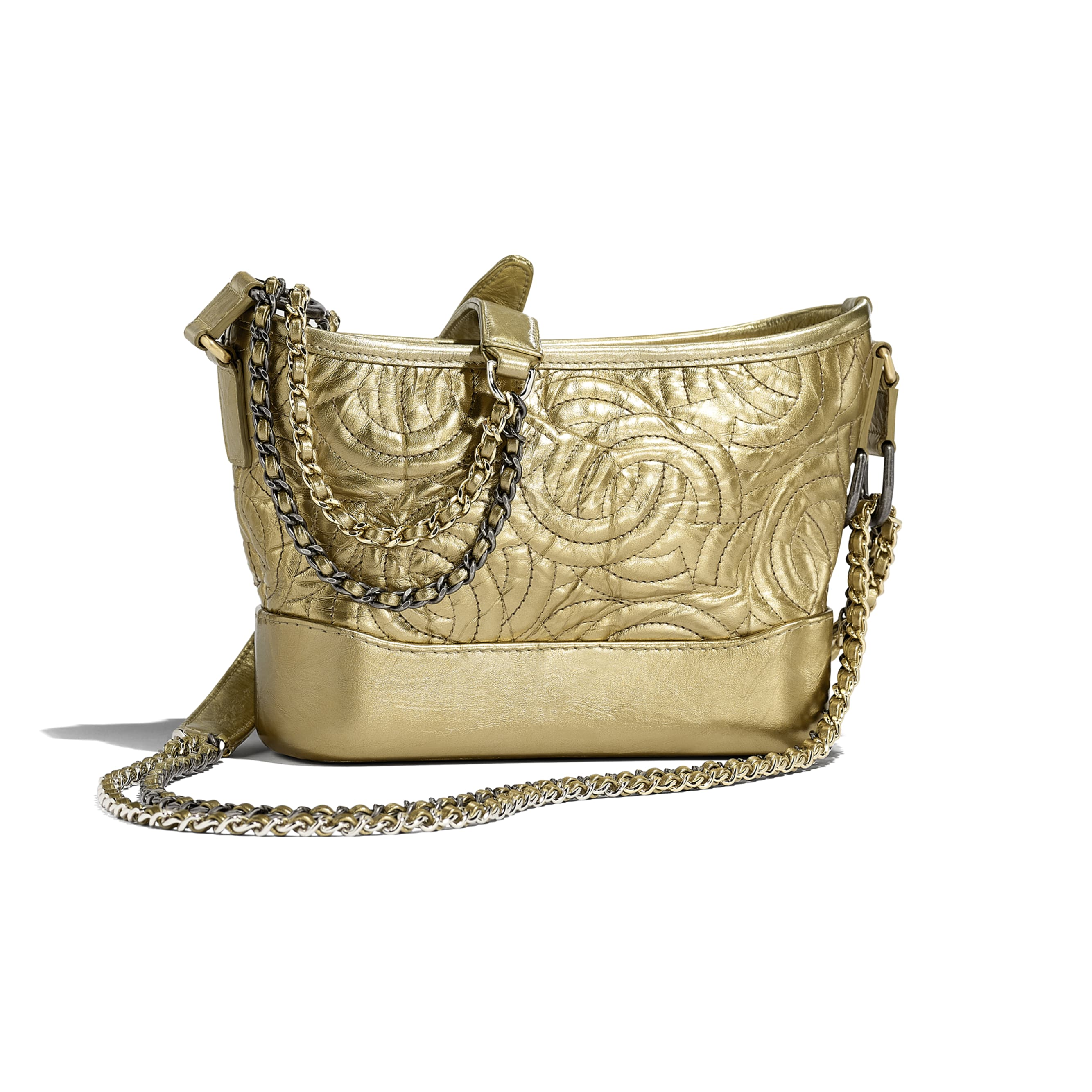 CHANEL'S GABRIELLE Small Hobo Bag - Gold - Calfskin, Silver-Tone & Gold-Tone Metal - CHANEL - Alternative view - see standard sized version