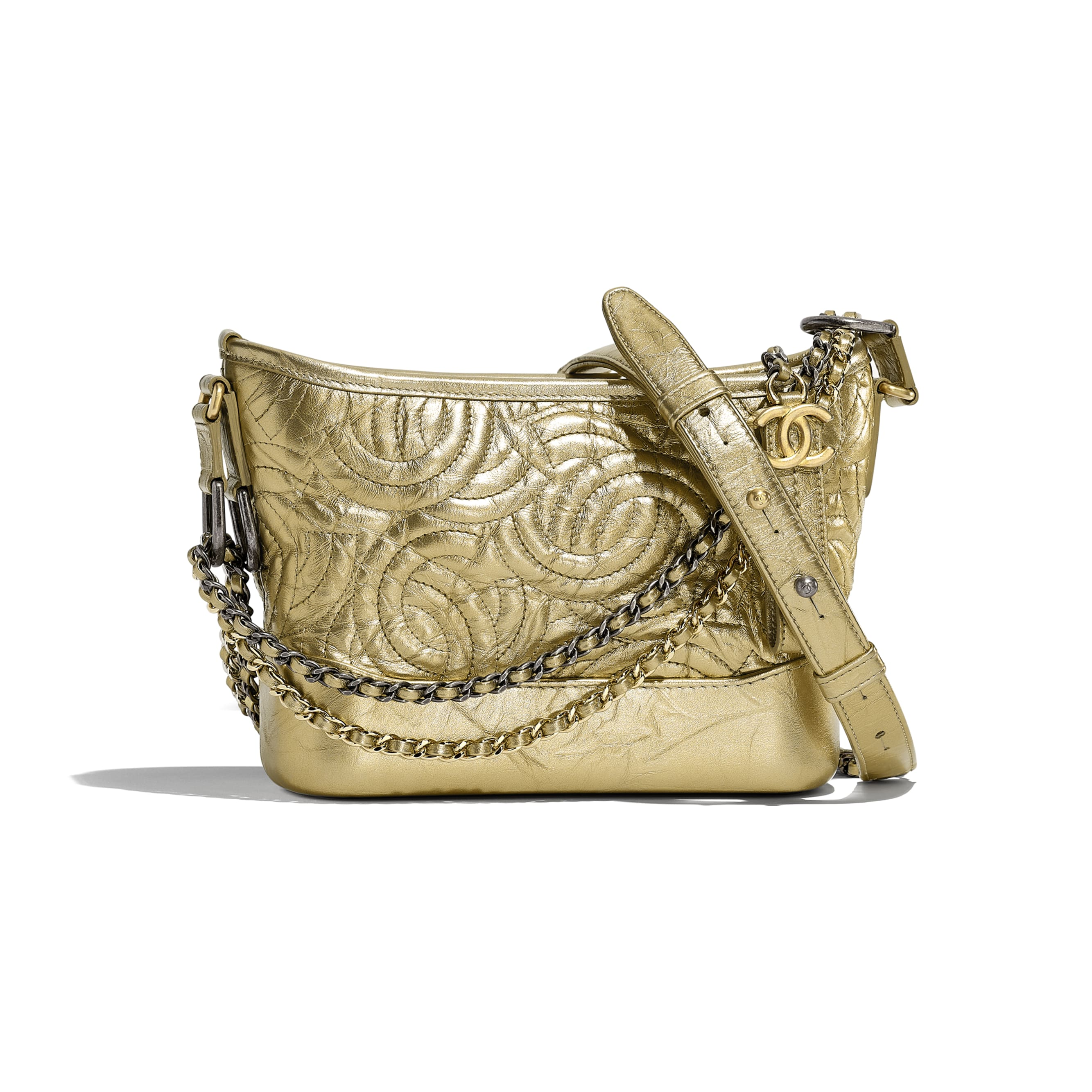 CHANEL'S GABRIELLE Small Hobo Bag - Gold - Calfskin, Silver-Tone & Gold-Tone Metal - CHANEL - Default view - see standard sized version