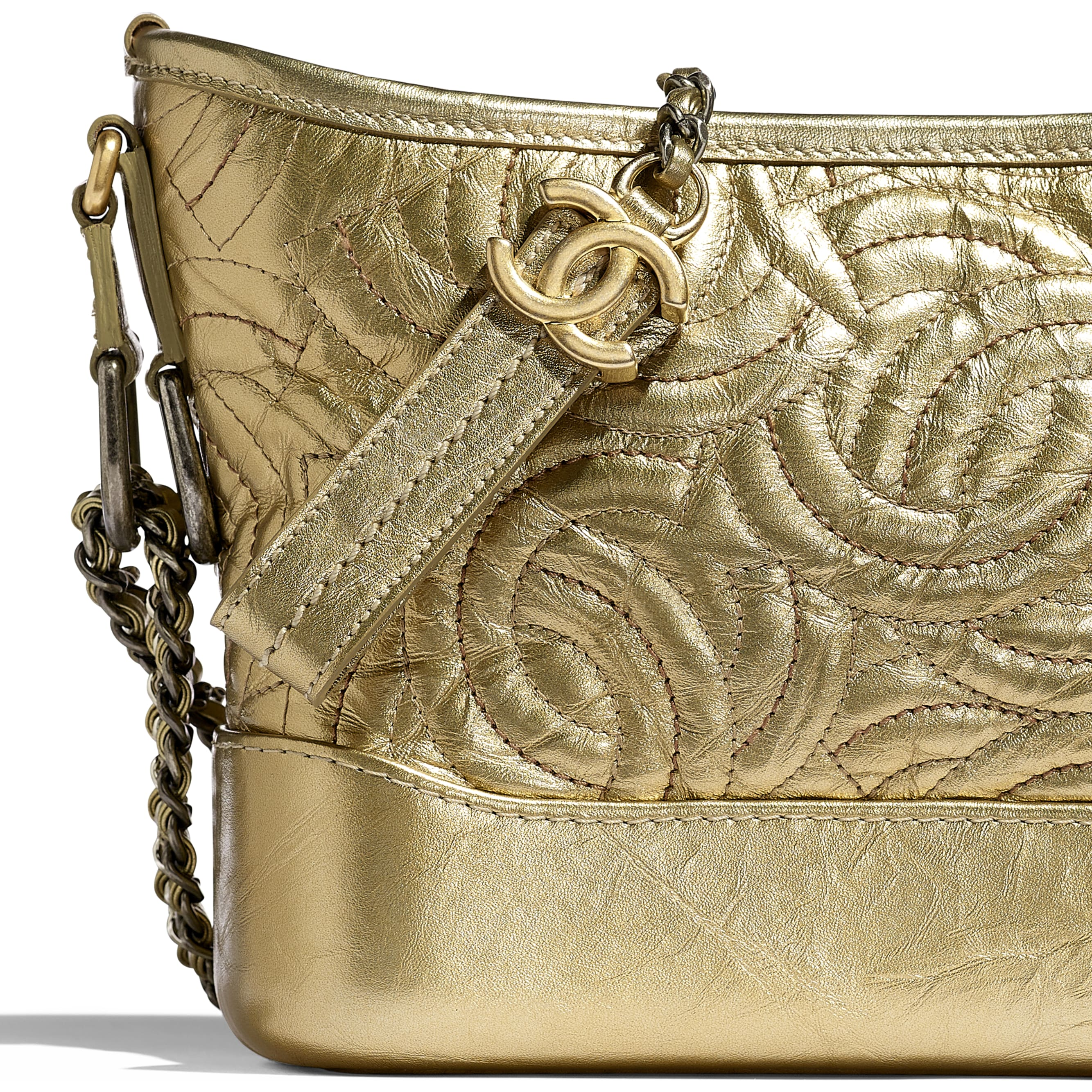 CHANEL'S GABRIELLE Small Hobo Bag - Gold - Calfskin, Silver-Tone & Gold-Tone Metal - CHANEL - Extra view - see standard sized version