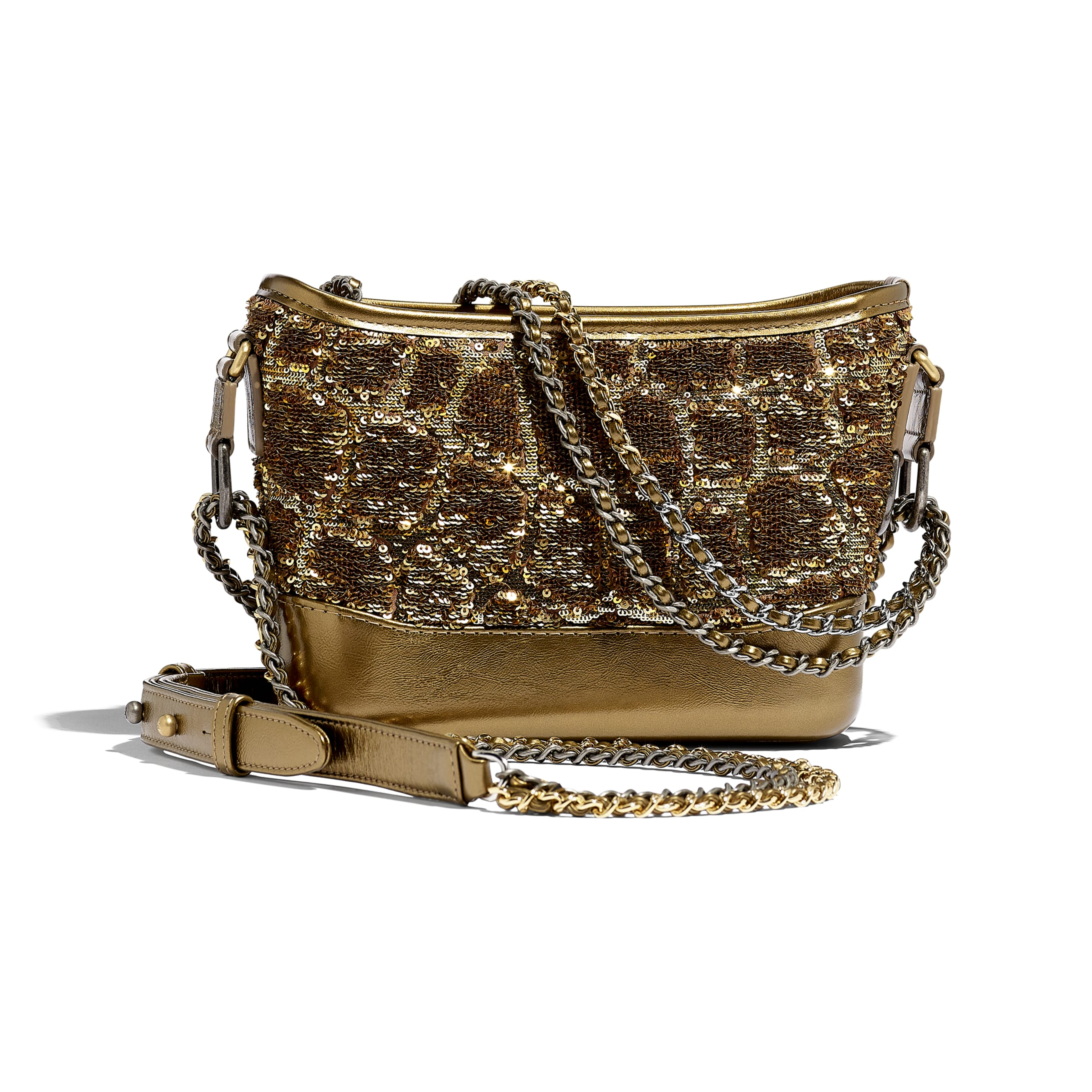 CHANEL'S GABRIELLE Small Hobo Bag - Gold & Copper - Sequins, Calfksin, Silver-Tone & Gold-Tone Metal - Alternative view - see standard sized version