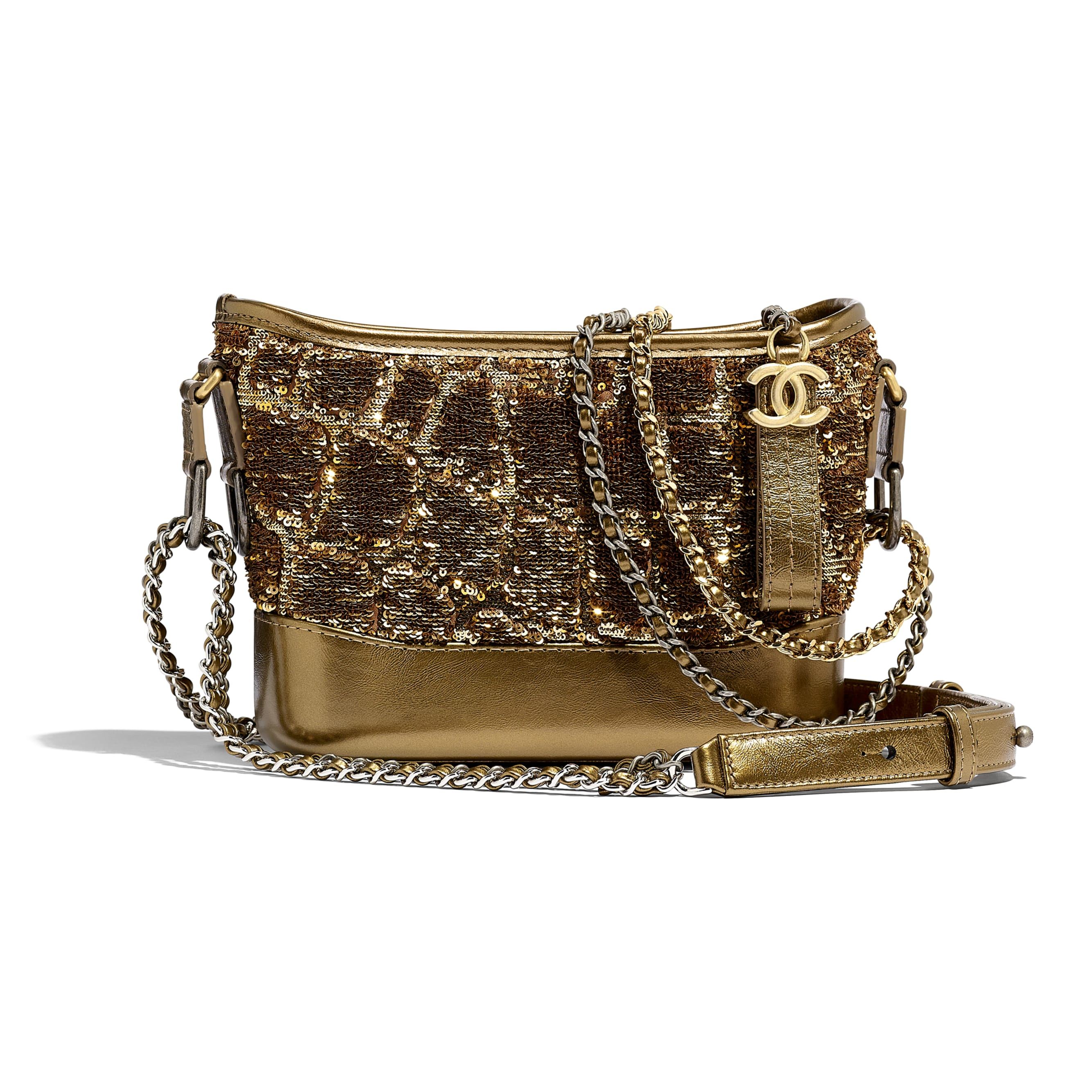 CHANEL'S GABRIELLE Small Hobo Bag - Gold & Copper - Sequins, Calfksin, Silver-Tone & Gold-Tone Metal - Default view - see standard sized version