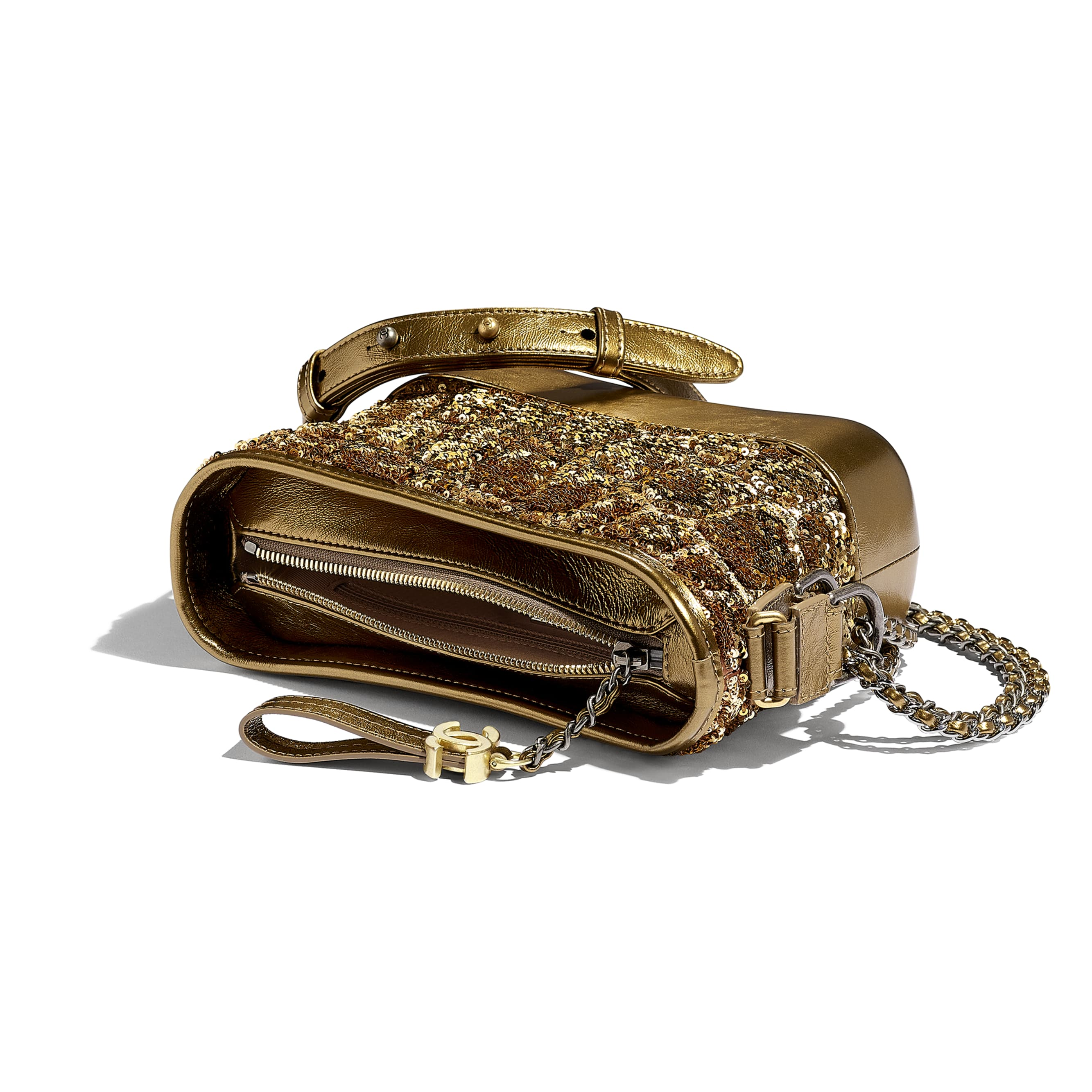 CHANEL'S GABRIELLE Small Hobo Bag - Gold & Copper - Sequins, Calfksin, Silver-Tone & Gold-Tone Metal - Other view - see standard sized version