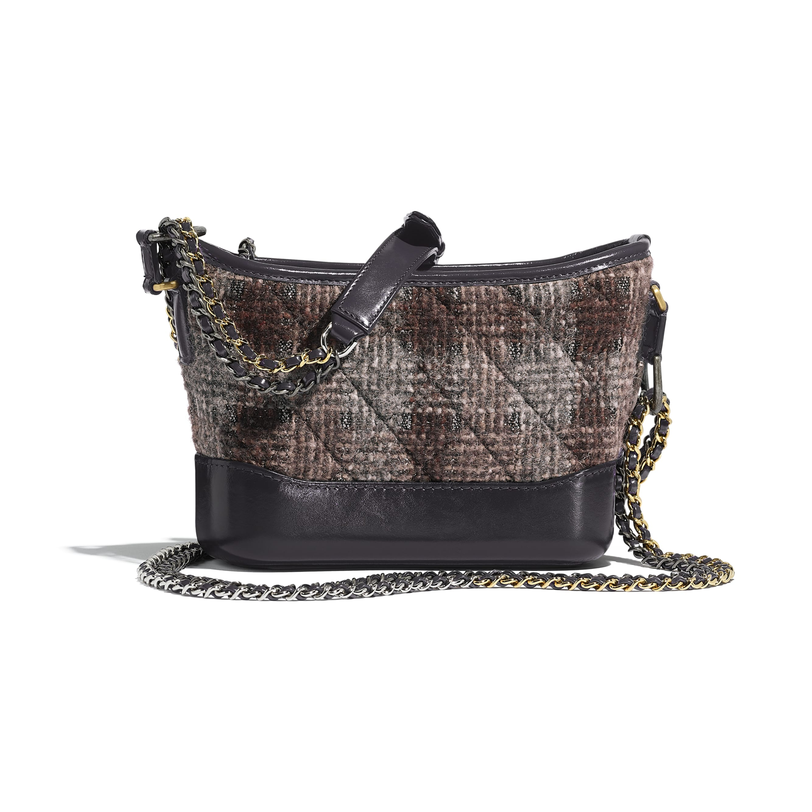 CHANEL'S GABRIELLE Small Hobo Bag - Gray, Brown & Silver - Tweed, Calfskin, Gold-Tone & Silver-Tone Metal - Alternative view - see standard sized version