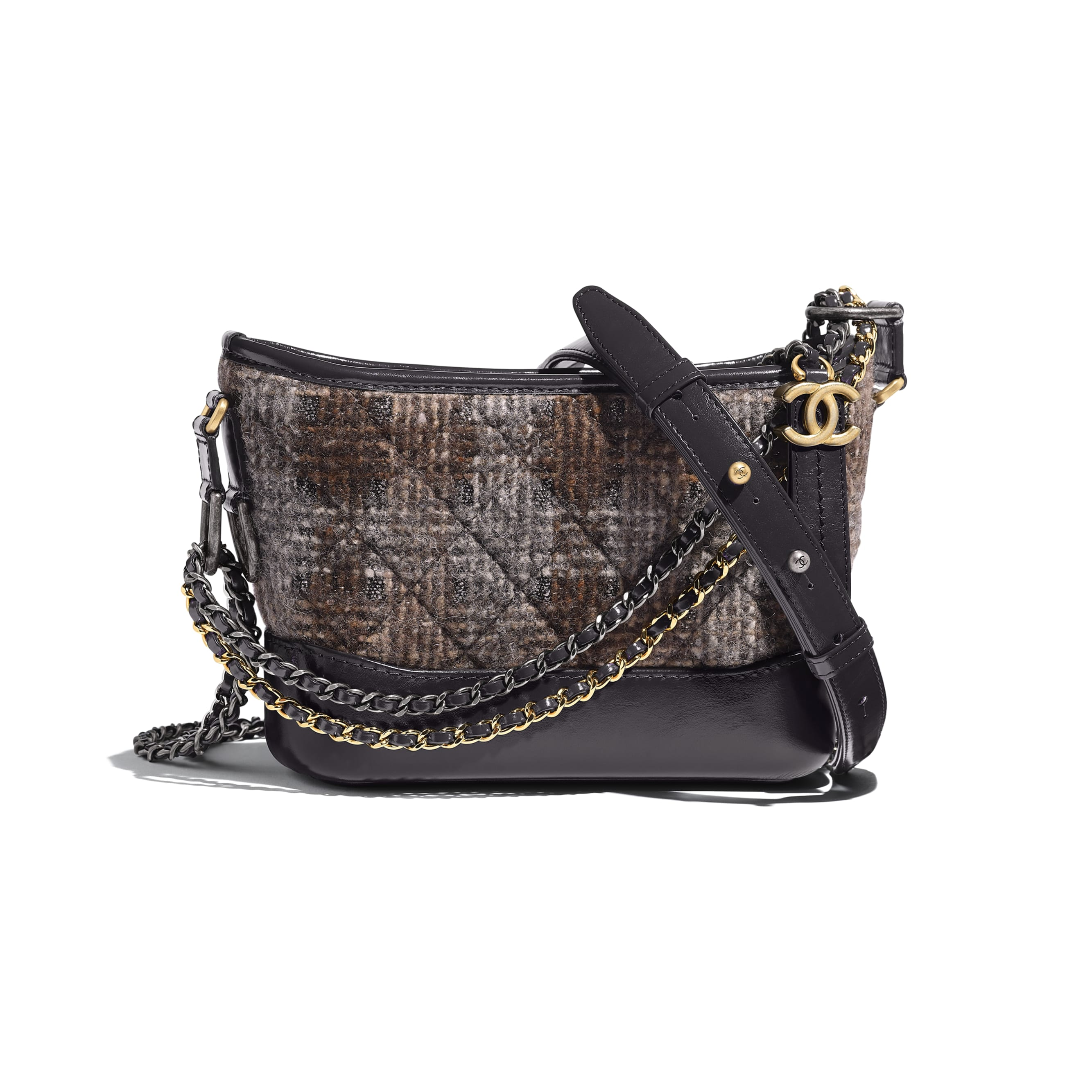 CHANEL'S GABRIELLE Small Hobo Bag - Gray, Brown & Silver - Tweed, Calfskin, Gold-Tone & Silver-Tone Metal - Default view - see standard sized version