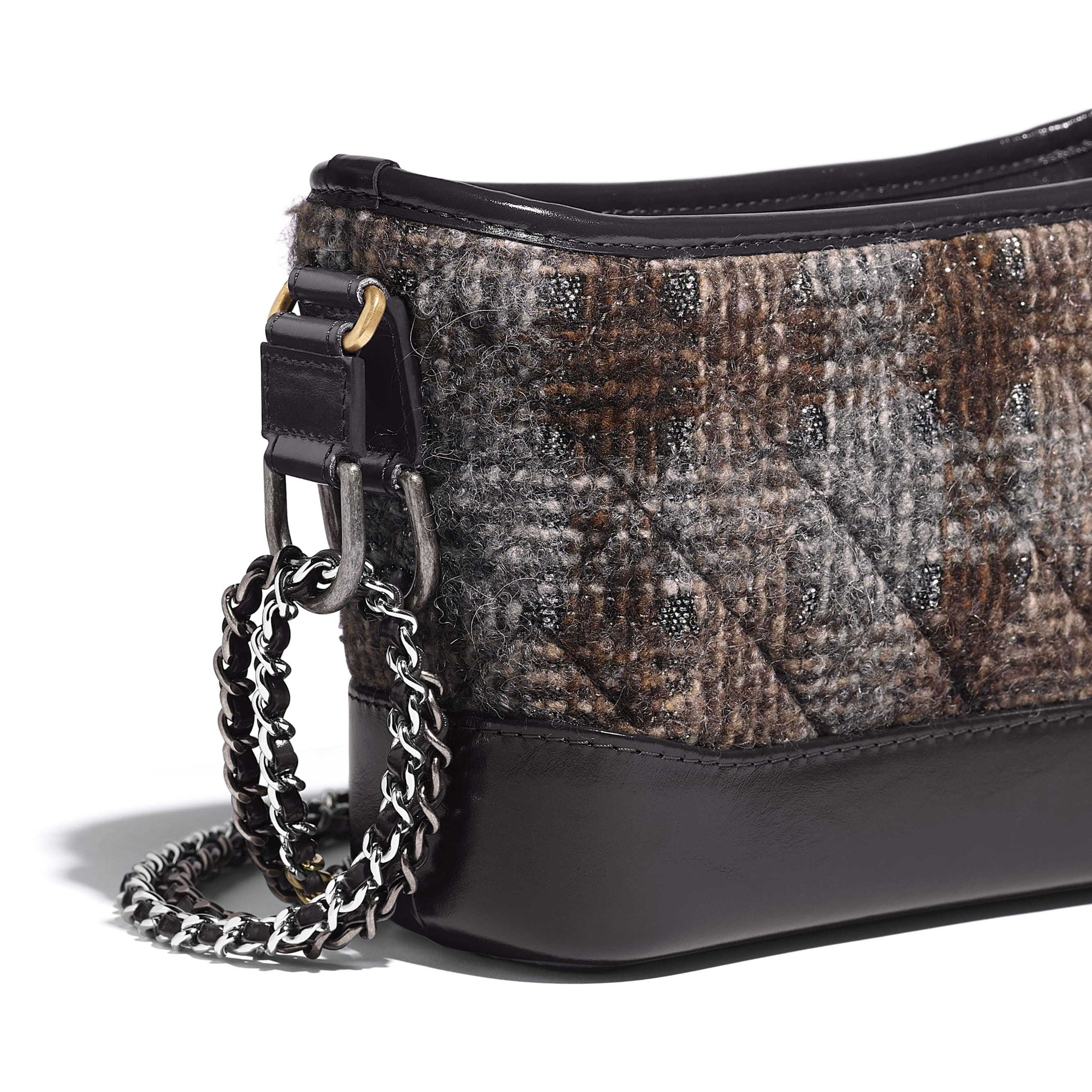 CHANEL'S GABRIELLE Small Hobo Bag - Gray, Brown & Silver - Tweed, Calfskin, Gold-Tone & Silver-Tone Metal - Extra view - see standard sized version