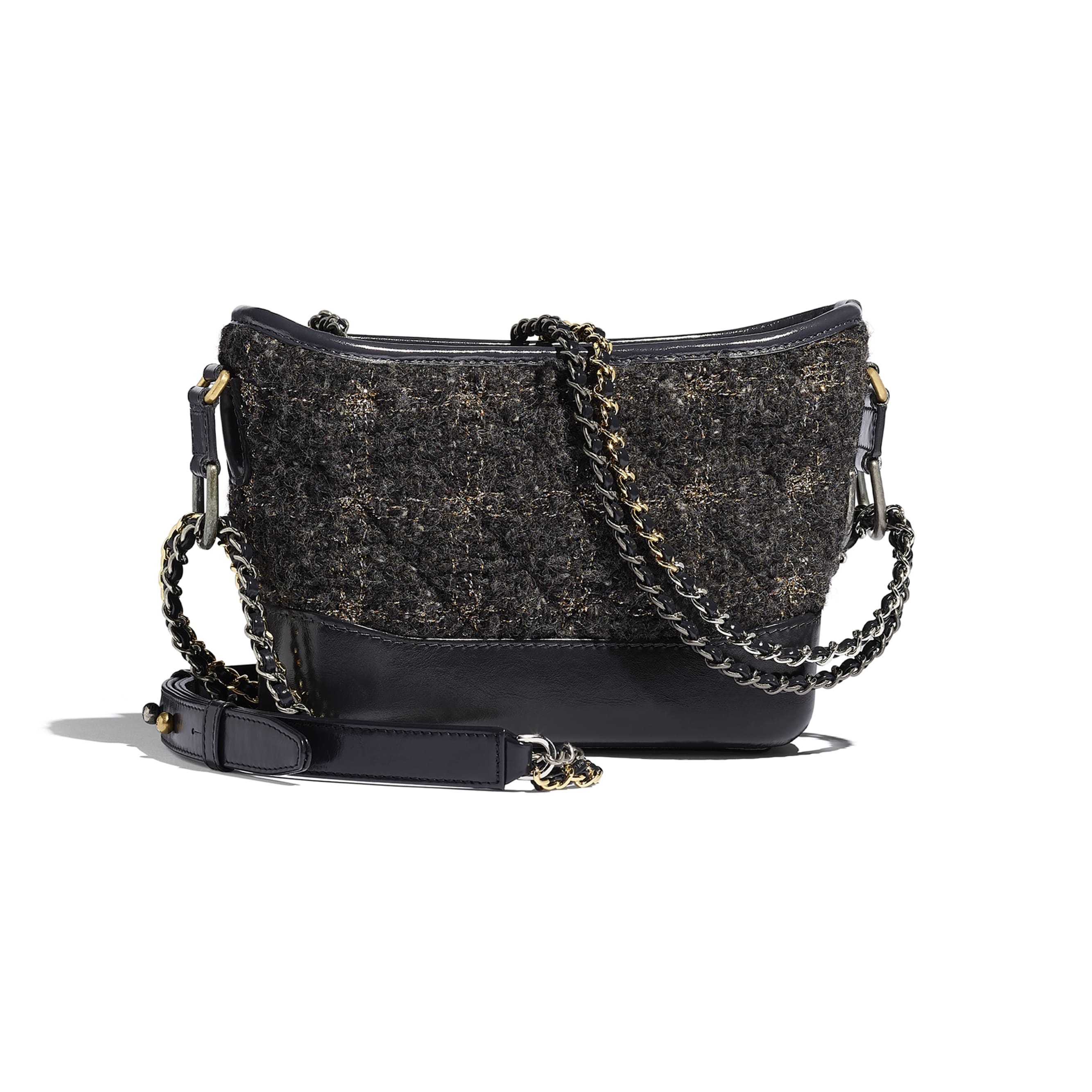 CHANEL'S GABRIELLE Small Hobo Bag - Gray, Golden & Silver - Wool Tweed, Calfskin, Gold-Tone & Silver-Tone Metal - Alternative view - see standard sized version