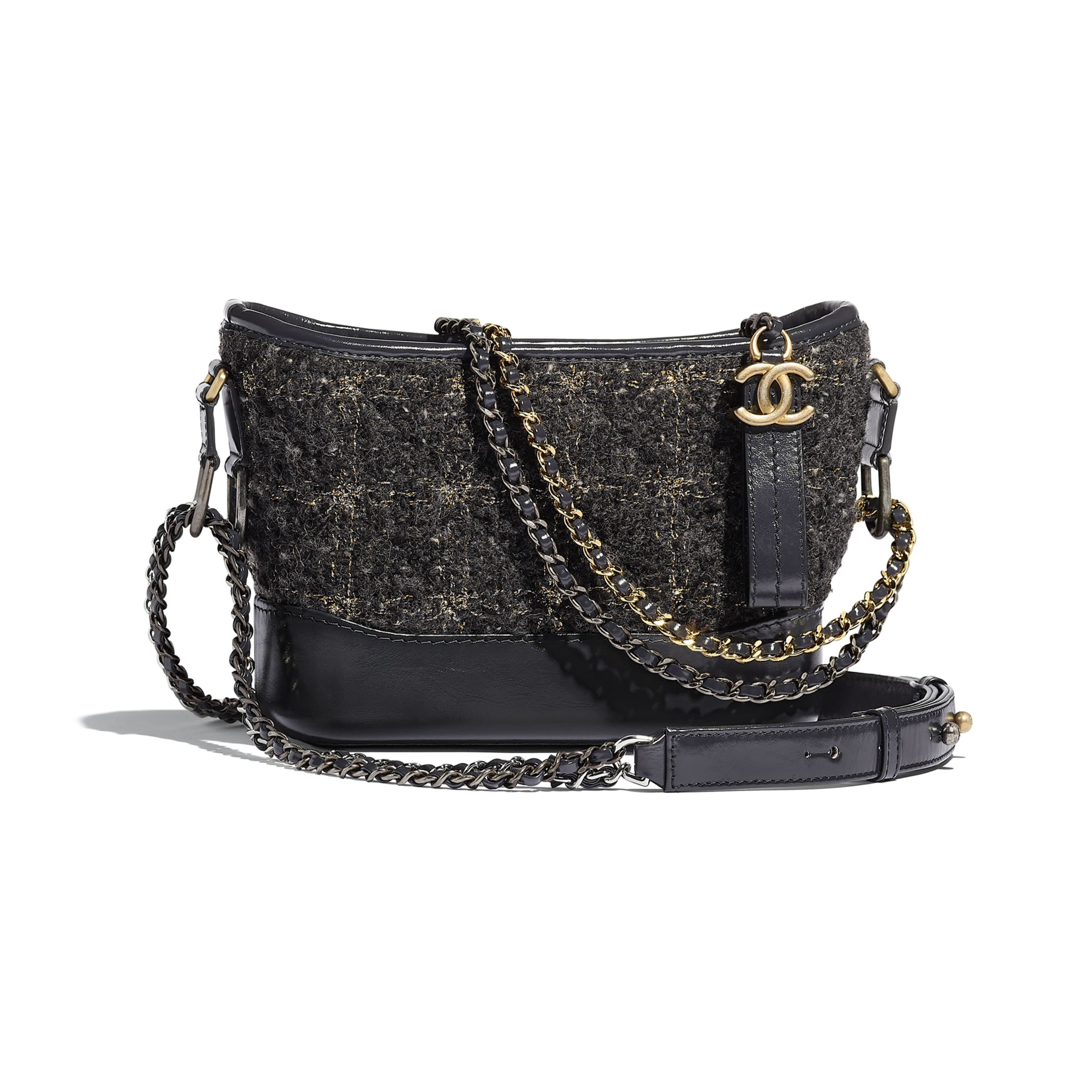 CHANEL'S GABRIELLE Small Hobo Bag - Gray, Golden & Silver - Wool Tweed, Calfskin, Gold-Tone & Silver-Tone Metal - Default view - see standard sized version