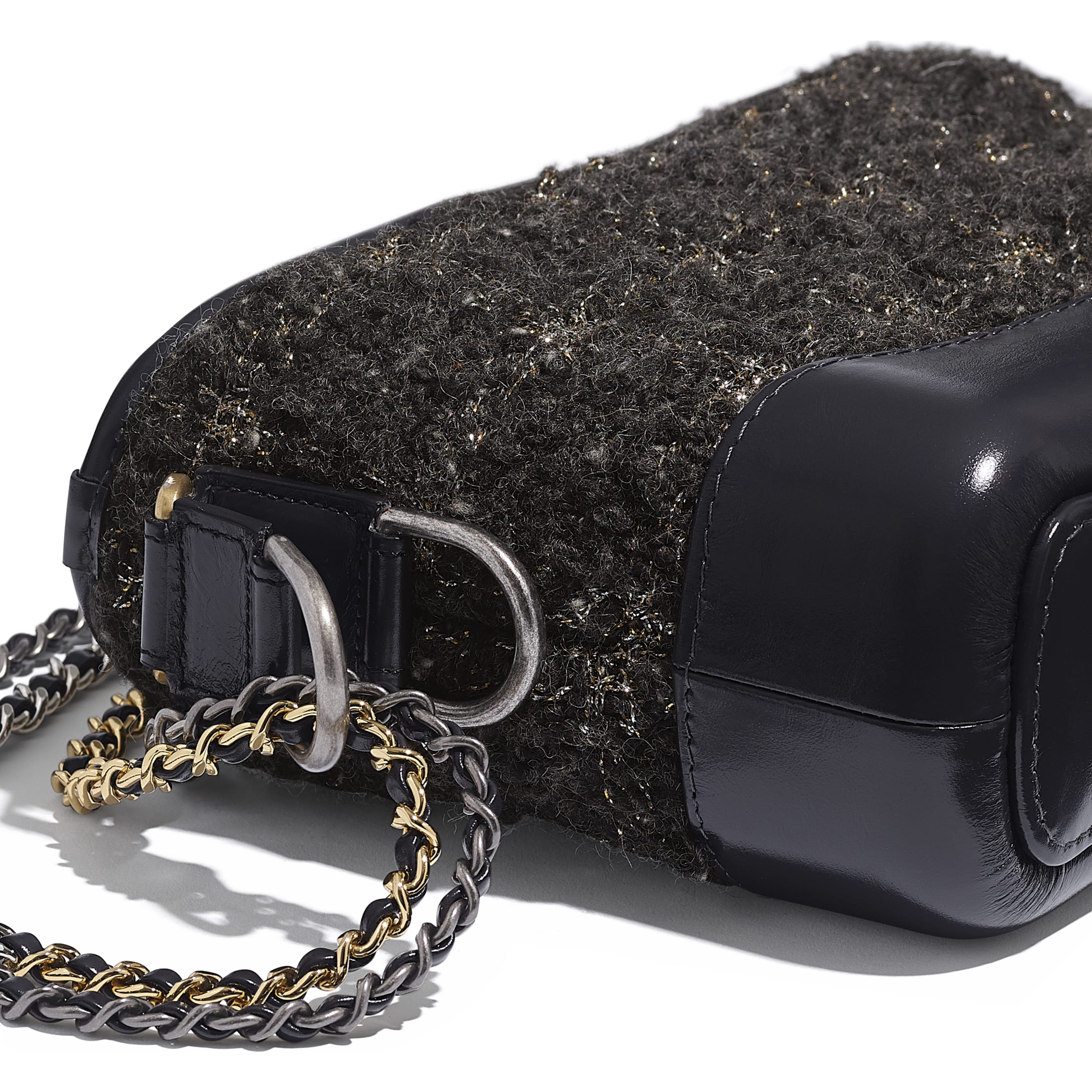 CHANEL'S GABRIELLE Small Hobo Bag - Gray, Golden & Silver - Wool Tweed, Calfskin, Gold-Tone & Silver-Tone Metal - Extra view - see standard sized version