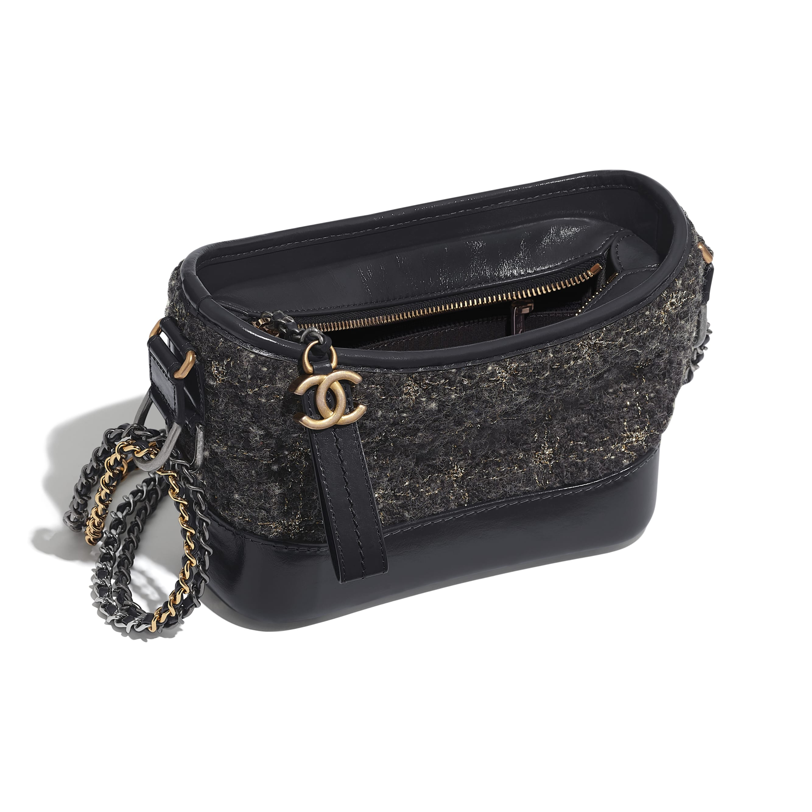 CHANEL'S GABRIELLE Small Hobo Bag - Gray, Golden & Silver - Wool Tweed, Calfskin, Gold-Tone & Silver-Tone Metal - Other view - see standard sized version