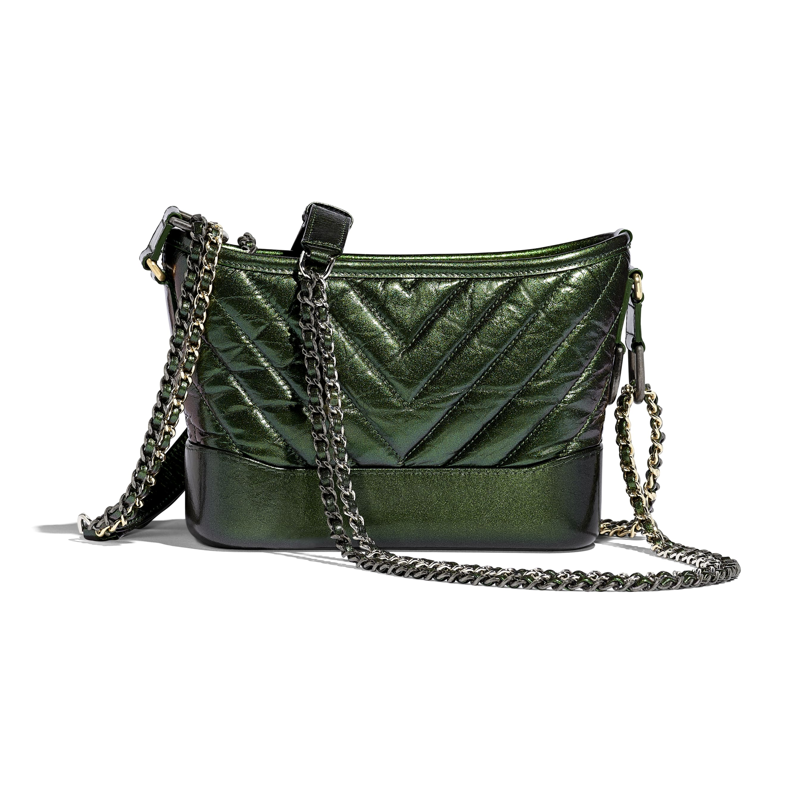CHANEL'S GABRIELLE Small Hobo Bag - Green - Aged Calfskin, Silver-Tone & Gold-Tone Metal - CHANEL - Alternative view - see standard sized version