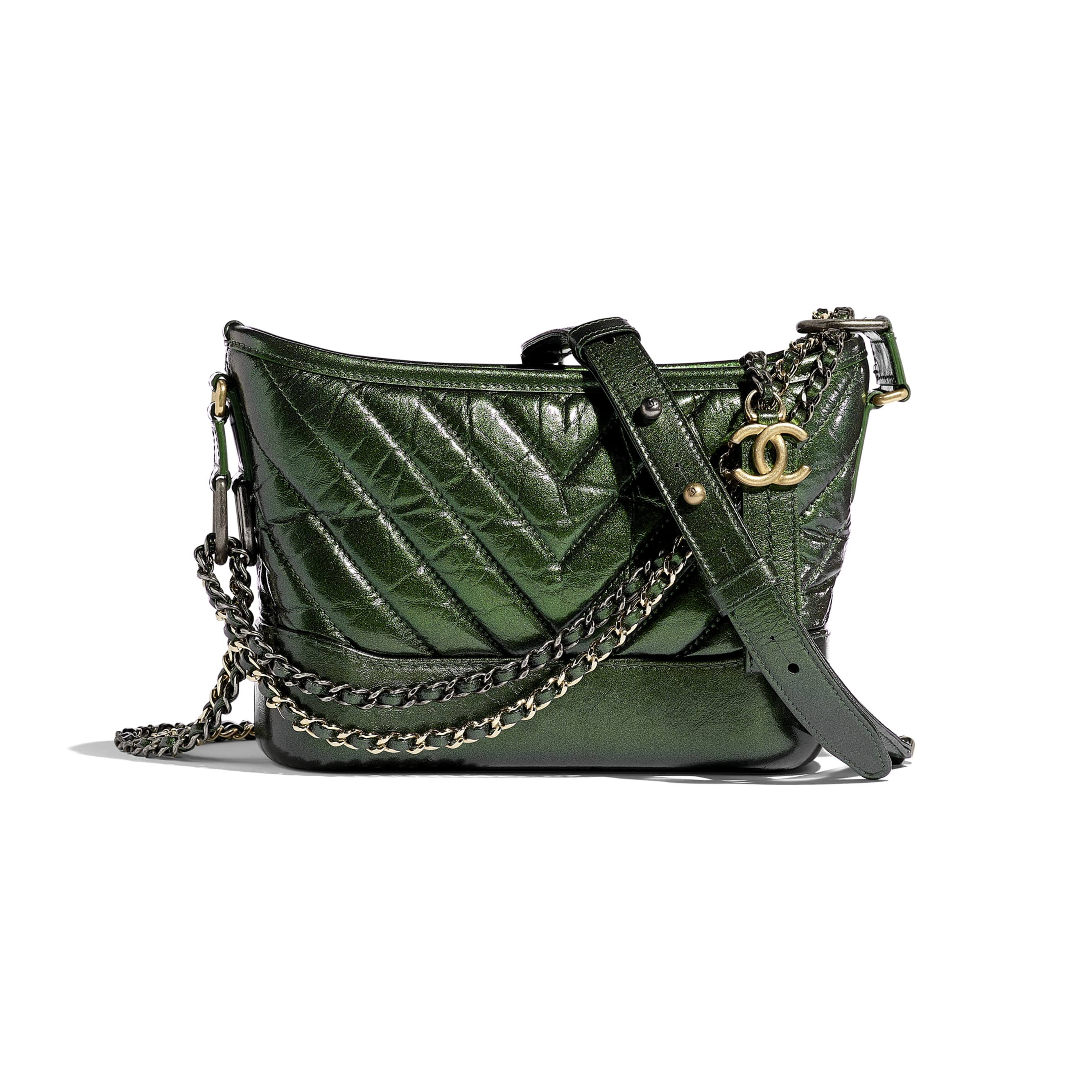 CHANEL'S GABRIELLE Small Hobo Bag - Green - Aged Calfskin, Silver-Tone & Gold-Tone Metal - CHANEL - Default view - see standard sized version