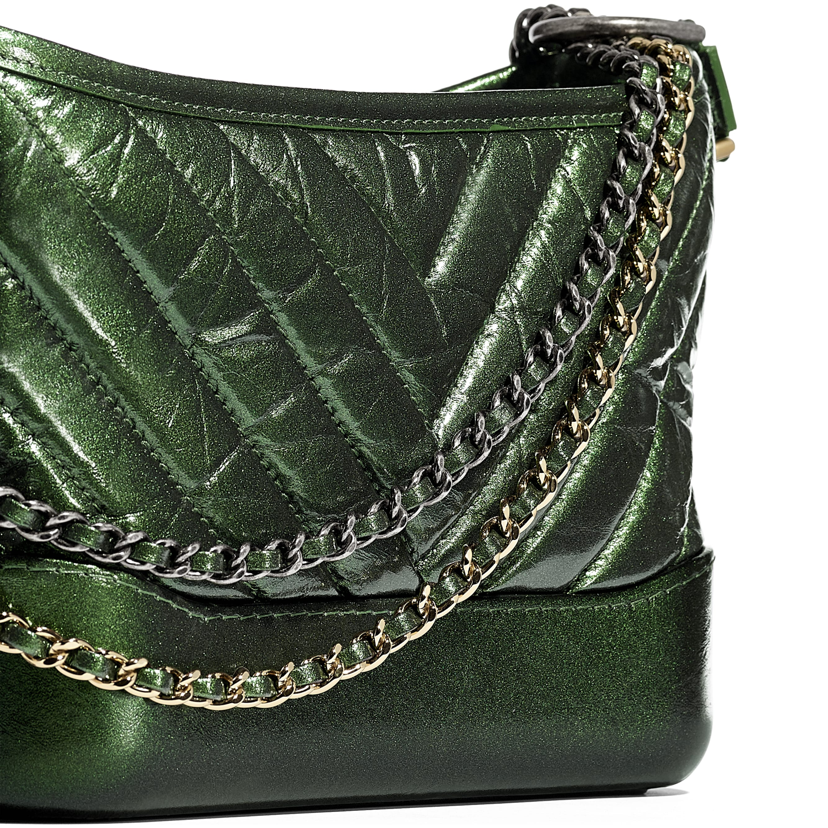 CHANEL'S GABRIELLE Small Hobo Bag - Green - Aged Calfskin, Silver-Tone & Gold-Tone Metal - CHANEL - Extra view - see standard sized version
