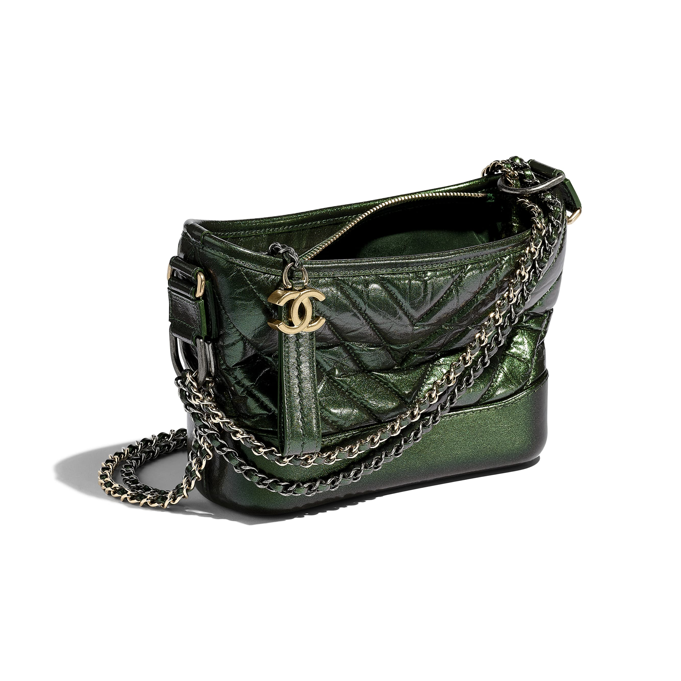 CHANEL'S GABRIELLE Small Hobo Bag - Green - Aged Calfskin, Silver-Tone & Gold-Tone Metal - CHANEL - Other view - see standard sized version