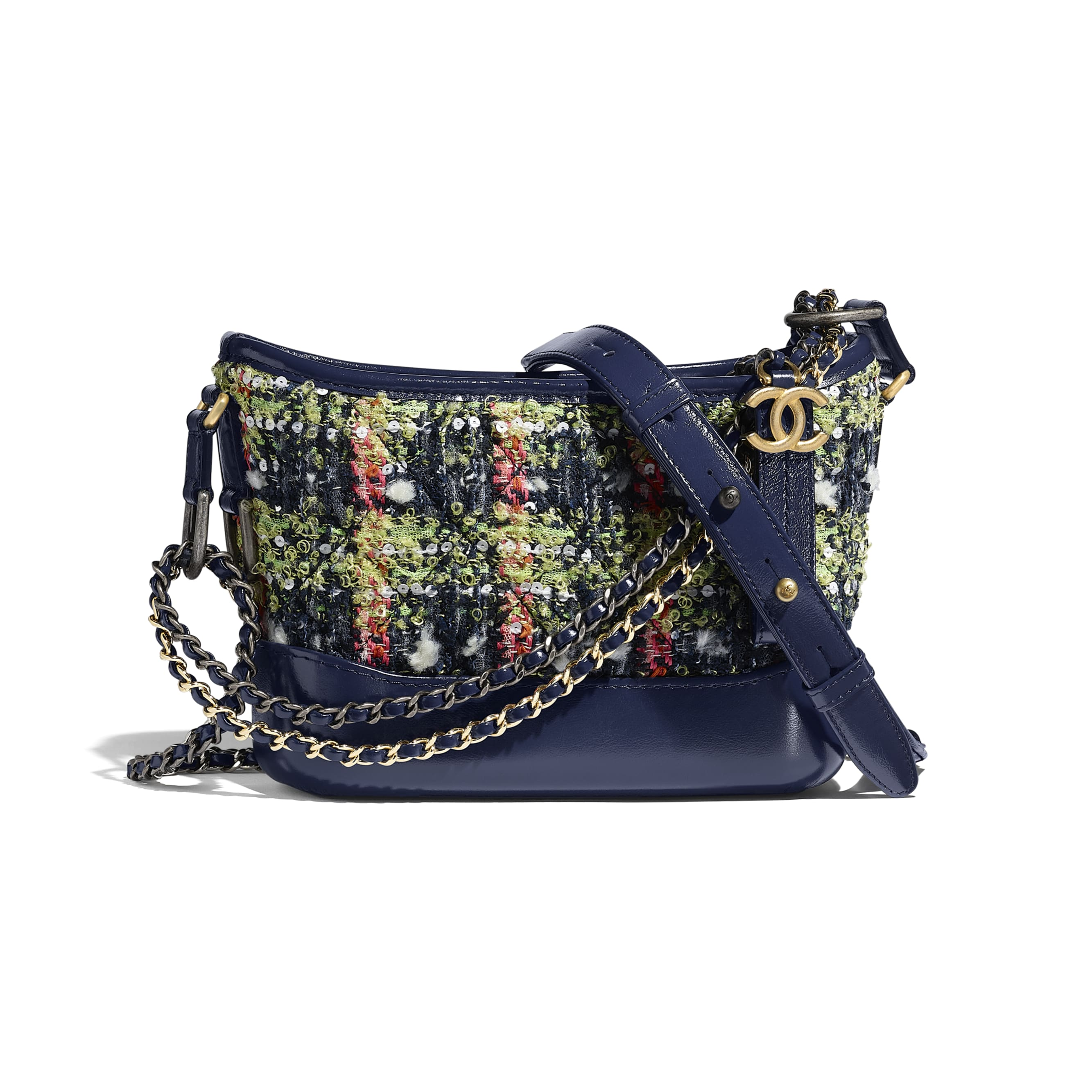 CHANEL'S GABRIELLE Small Hobo Bag - Navy Blue, Green, Pink & White - Tweed, Calfskin, Gold-Tone, Silver-Tone & Ruthenium-Finish Metal - CHANEL - Default view - see standard sized version