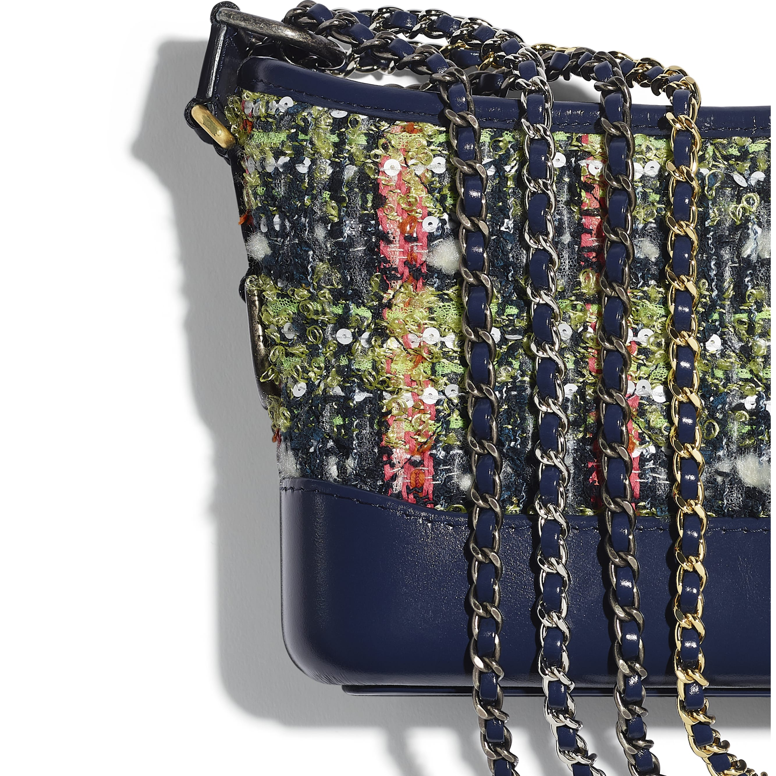 CHANEL'S GABRIELLE Small Hobo Bag - Navy Blue, Green, Pink & White - Tweed, Calfskin, Gold-Tone, Silver-Tone & Ruthenium-Finish Metal - CHANEL - Extra view - see standard sized version