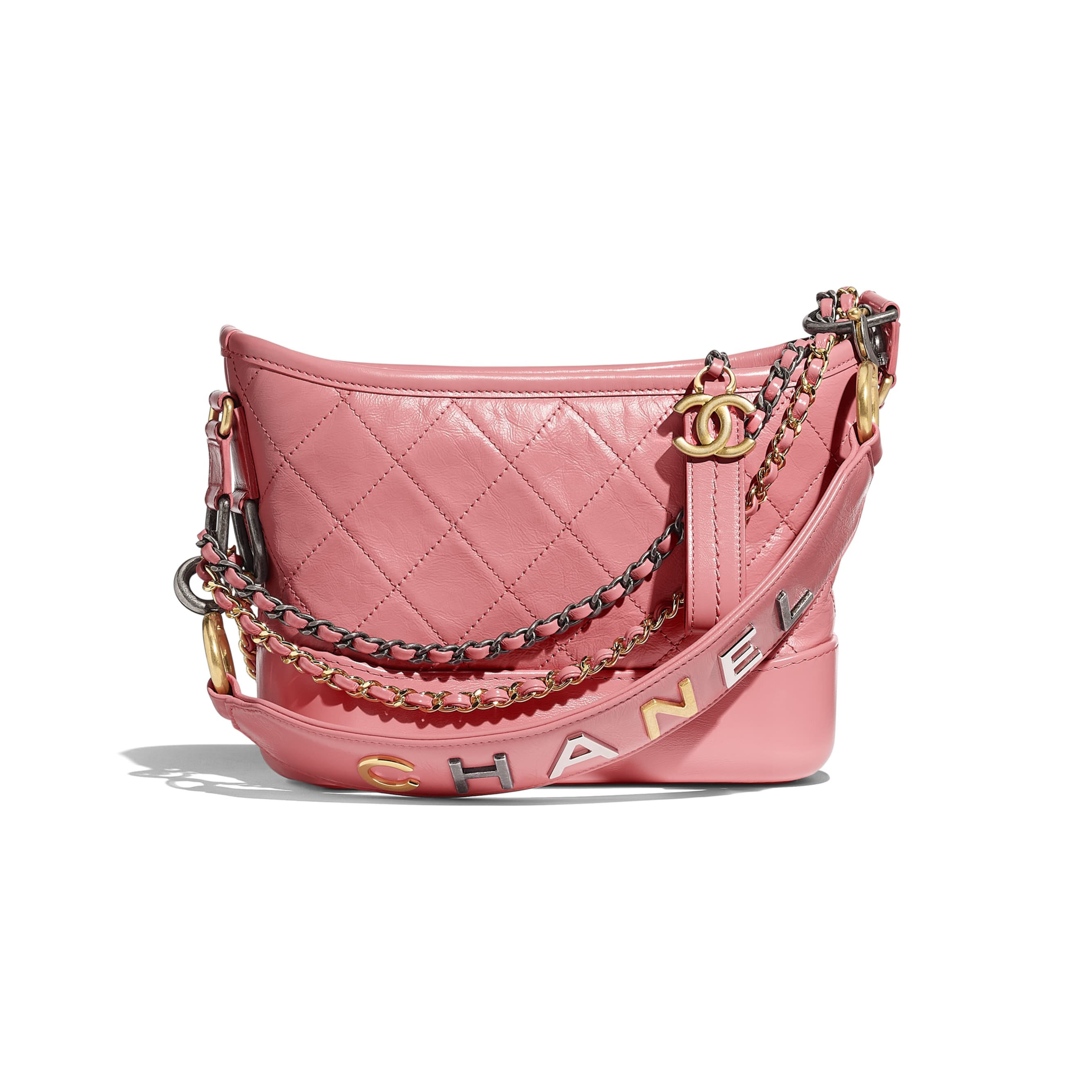 CHANEL'S GABRIELLE Small Hobo Bag - Pink - Aged Calfskin, Smooth Calfskin, Gold-Tone & Silver-Tone Metal - Default view - see standard sized version