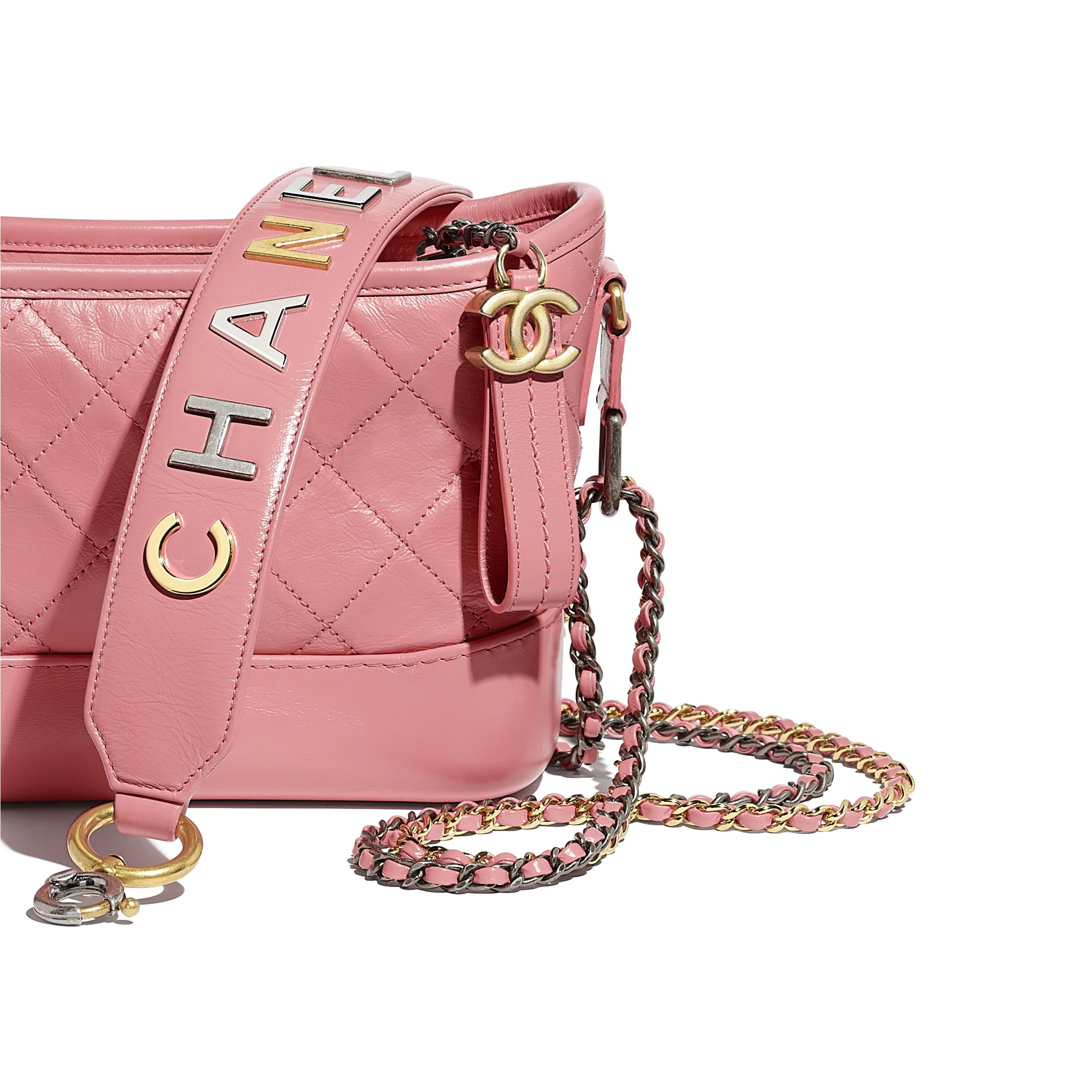 CHANEL'S GABRIELLE Small Hobo Bag - Pink - Aged Calfskin, Smooth Calfskin, Gold-Tone & Silver-Tone Metal - Extra view - see standard sized version