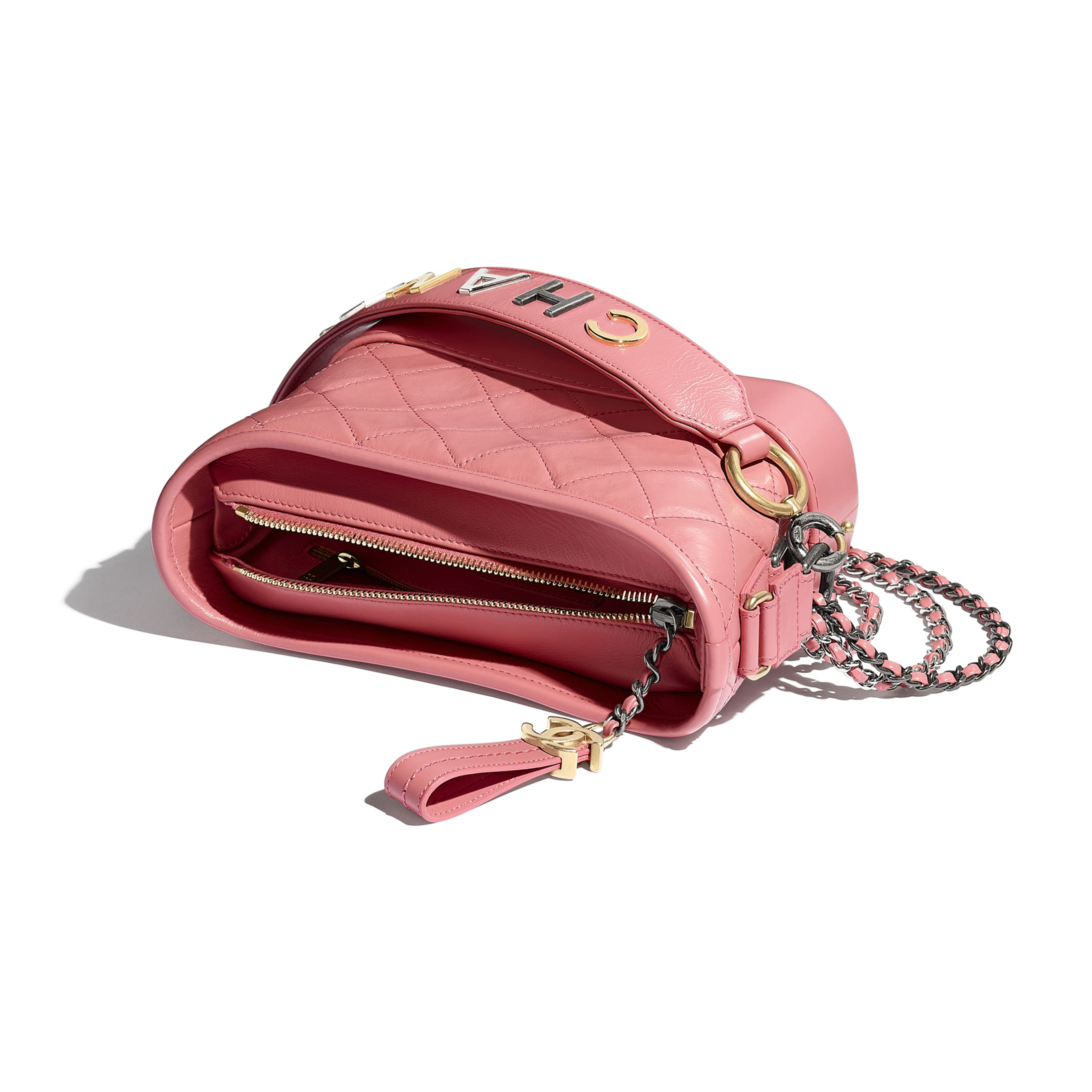 CHANEL'S GABRIELLE Small Hobo Bag - Pink - Aged Calfskin, Smooth Calfskin, Gold-Tone & Silver-Tone Metal - Other view - see standard sized version