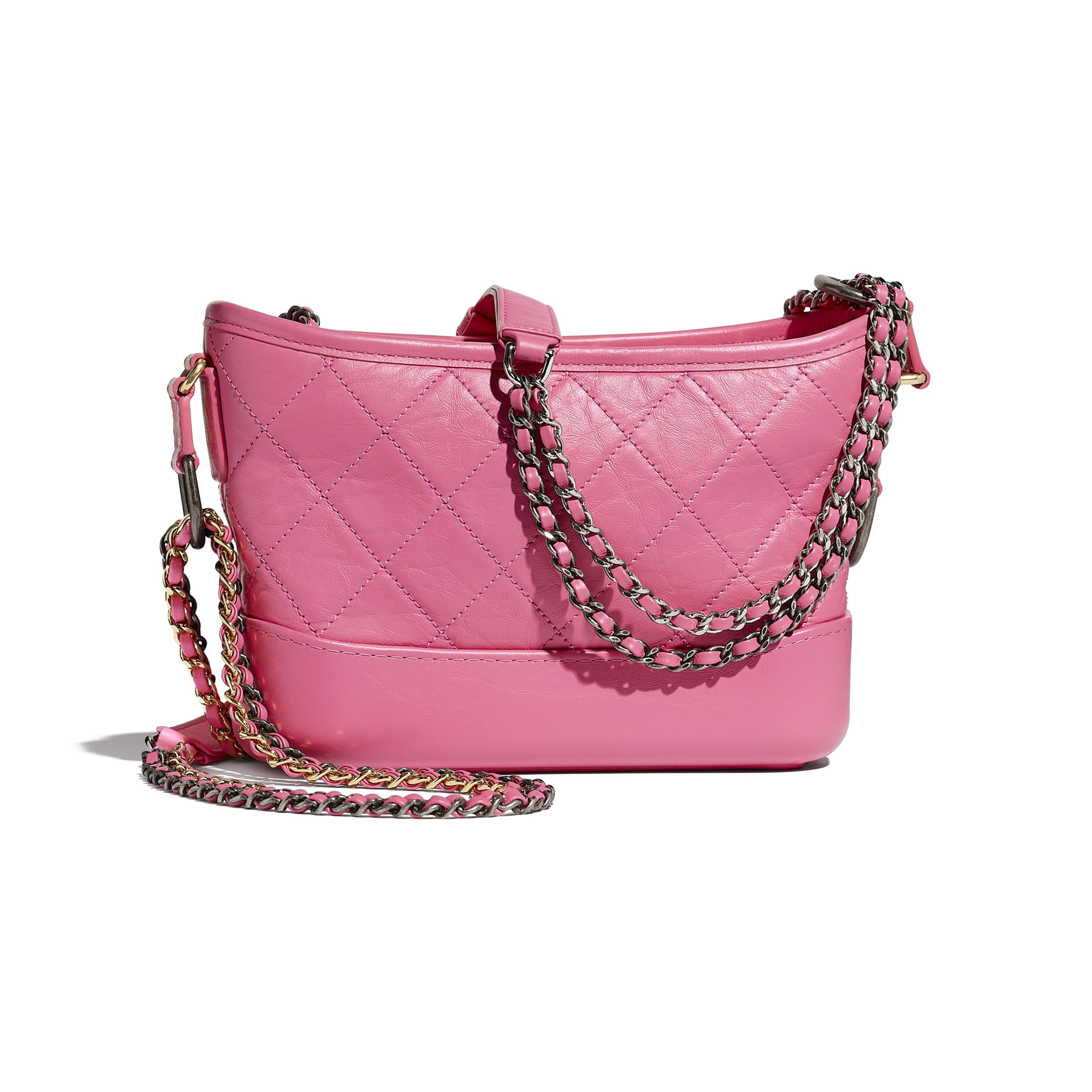 CHANEL'S GABRIELLE Small Hobo Bag - Pink - Aged Calfskin, Smooth Calfskin, Silver-Tone & Gold-Tone Metal - Alternative view - see standard sized version
