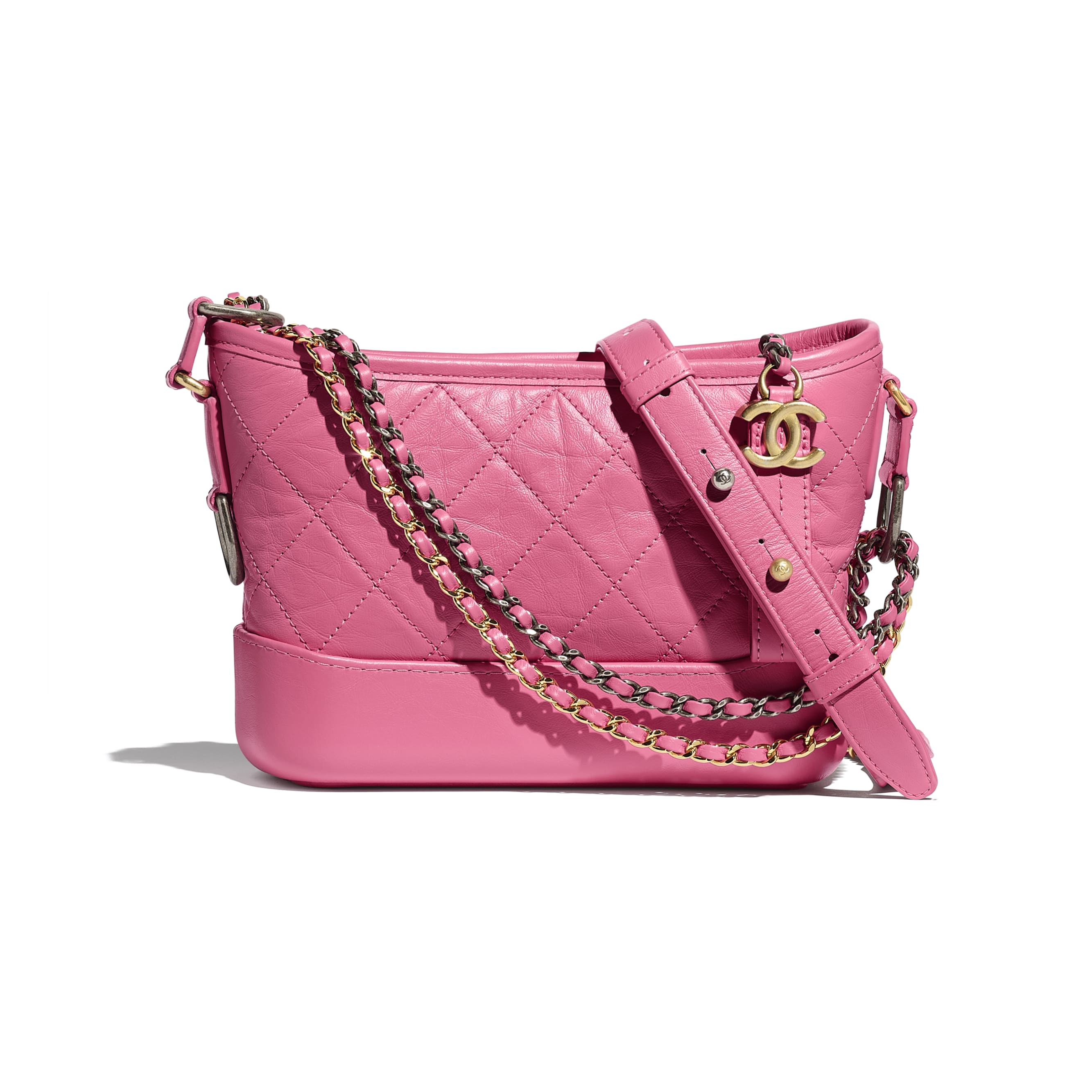 CHANEL'S GABRIELLE Small Hobo Bag - Pink - Aged Calfskin, Smooth Calfskin, Silver-Tone & Gold-Tone Metal - Default view - see standard sized version