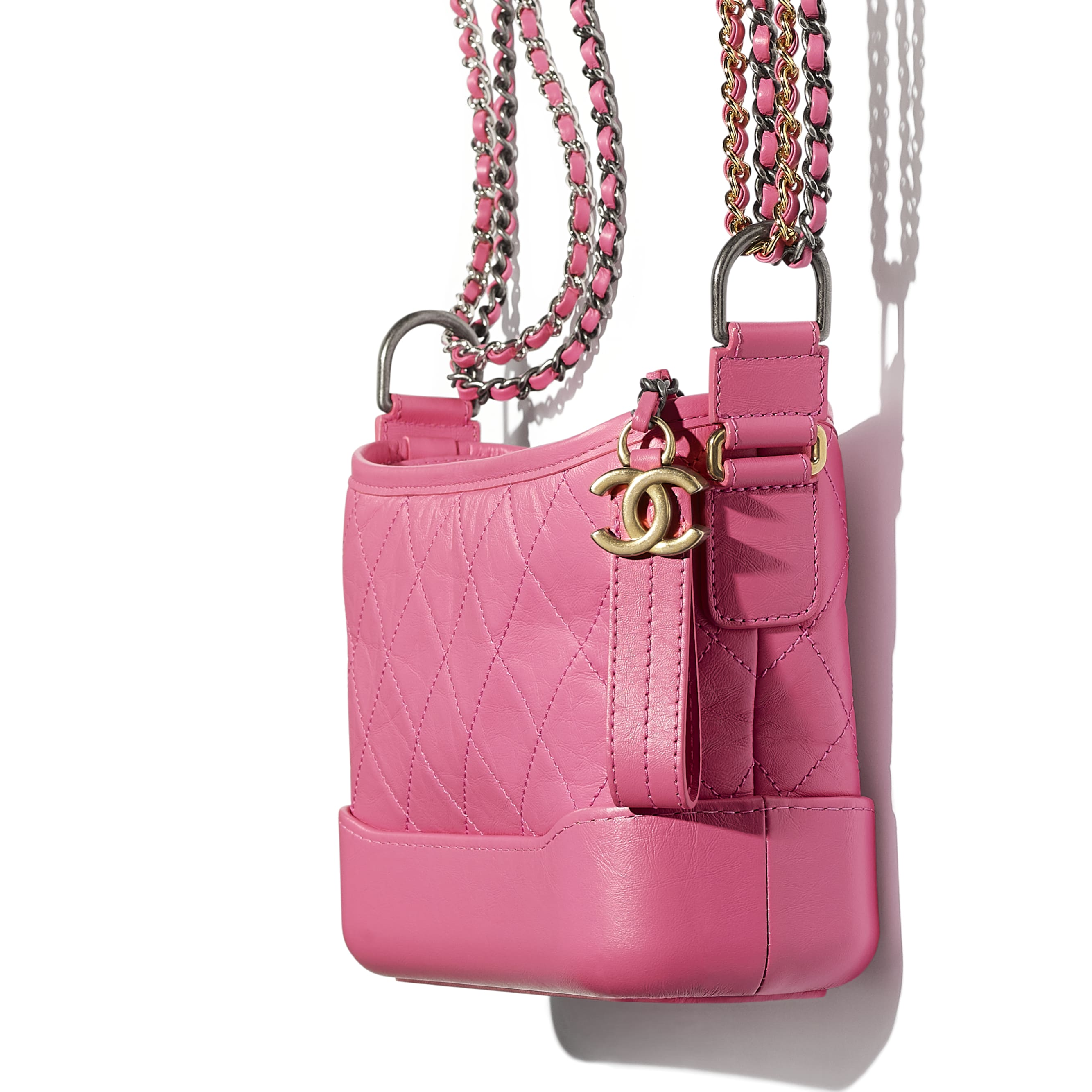 CHANEL'S GABRIELLE Small Hobo Bag - Pink - Aged Calfskin, Smooth Calfskin, Silver-Tone & Gold-Tone Metal - Extra view - see standard sized version