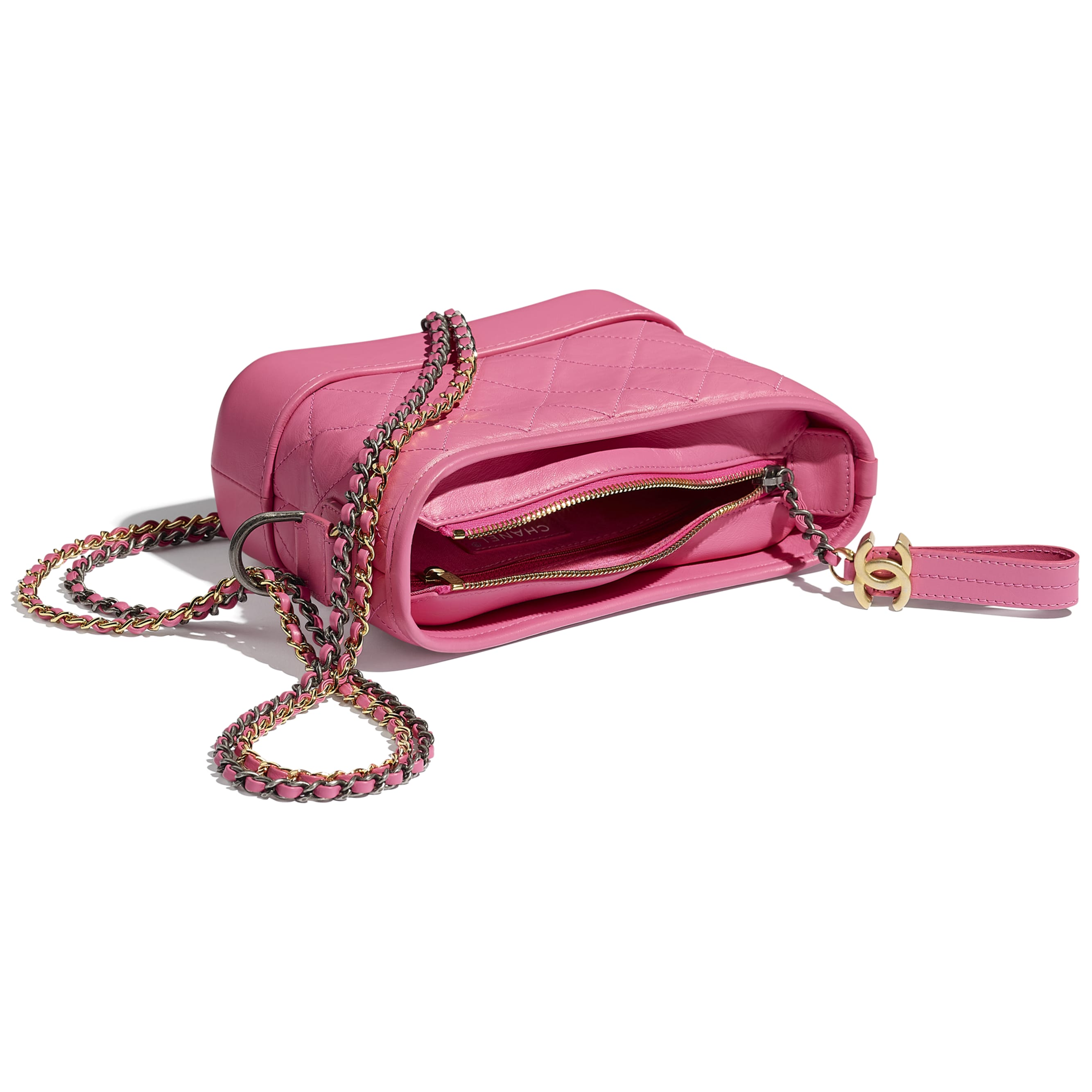CHANEL'S GABRIELLE Small Hobo Bag - Pink - Aged Calfskin, Smooth Calfskin, Silver-Tone & Gold-Tone Metal - Other view - see standard sized version