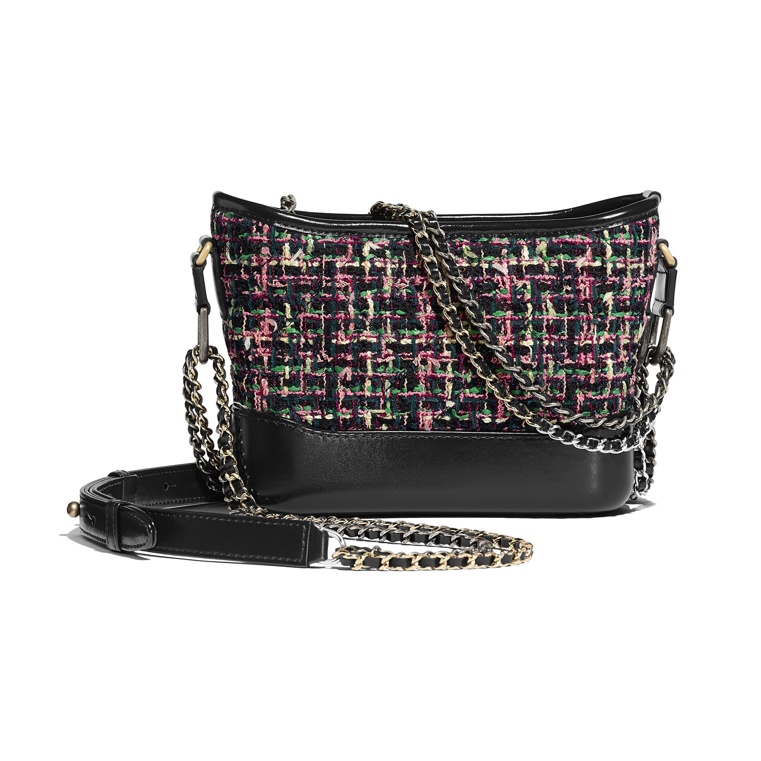 CHANEL'S GABRIELLE Small Hobo Bag - Pink & Navy Blue - Tweed, Calfskin, Gold-Tone & Silver-Tone Metal - Alternative view - see standard sized version