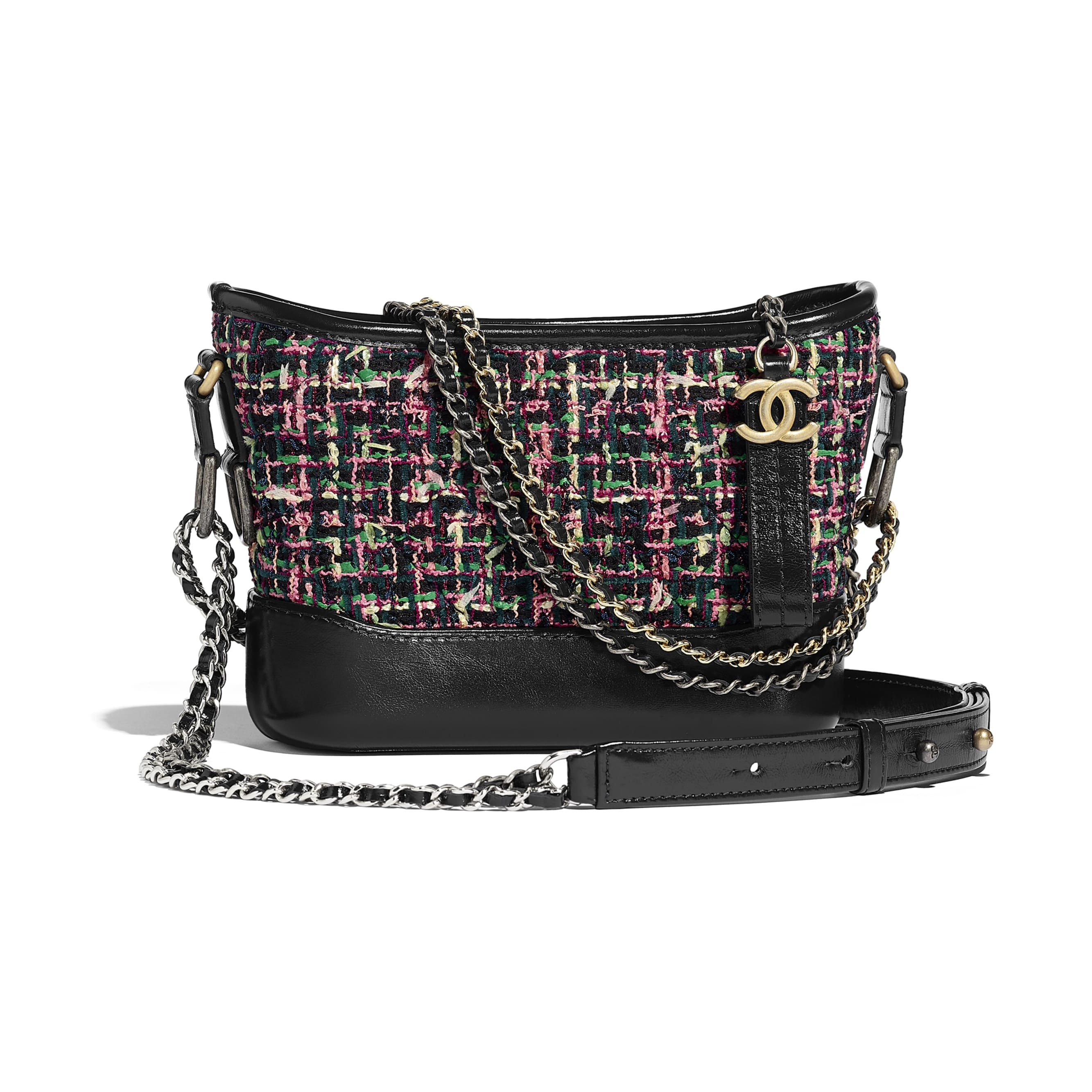 CHANEL'S GABRIELLE Small Hobo Bag - Pink & Navy Blue - Tweed, Calfskin, Gold-Tone & Silver-Tone Metal - Default view - see standard sized version