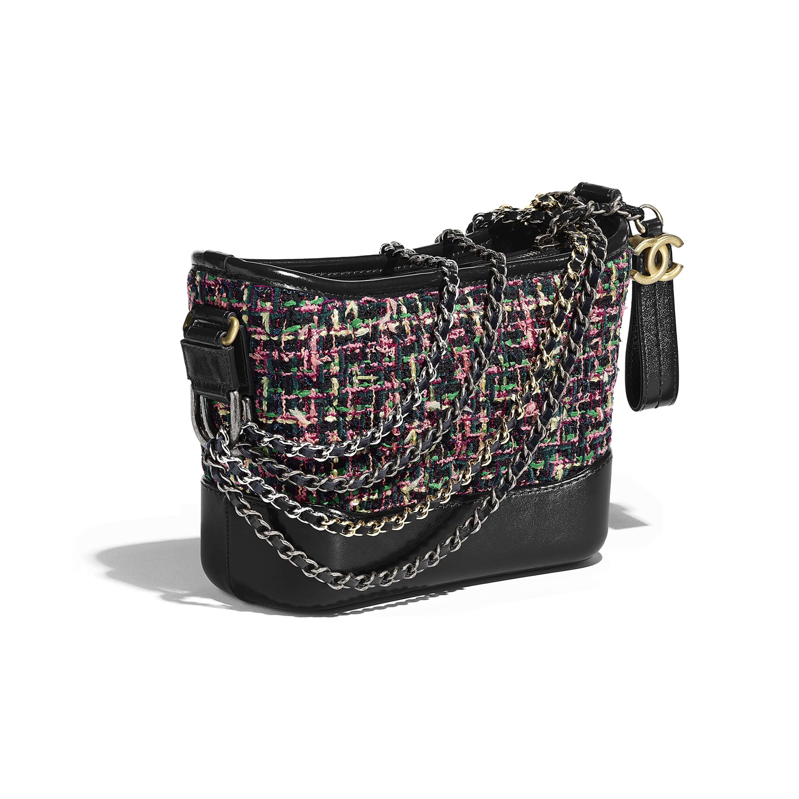 CHANEL'S GABRIELLE Small Hobo Bag - Pink & Navy Blue - Tweed, Calfskin, Gold-Tone & Silver-Tone Metal - Other view - see standard sized version