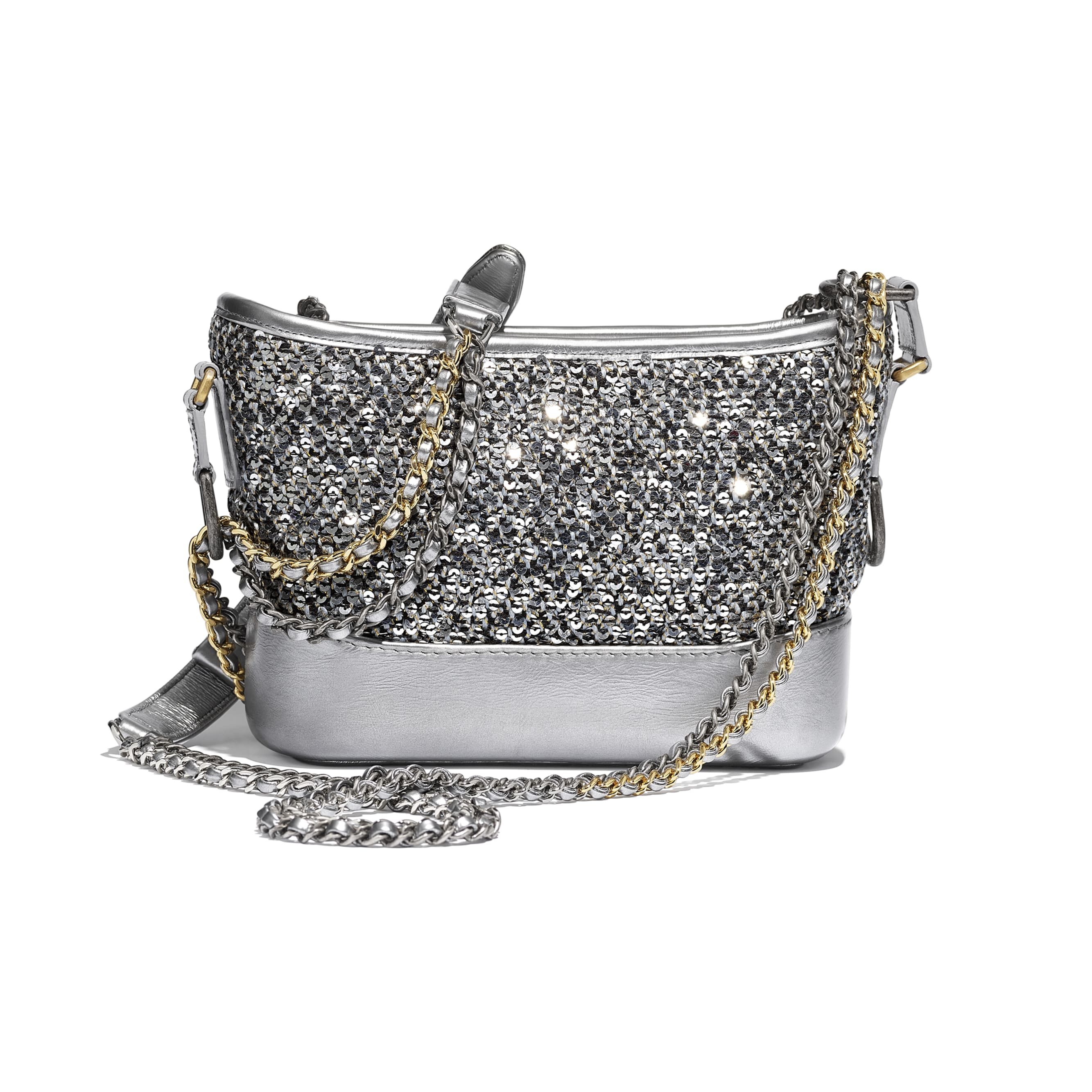 CHANEL'S GABRIELLE Small Hobo Bag - Silver, Black & Gold - Tweed, Sequins, Calfskin, Gold-Tone, Silver-Tone & Ruthenium-Finish Metal - CHANEL - Alternative view - see standard sized version