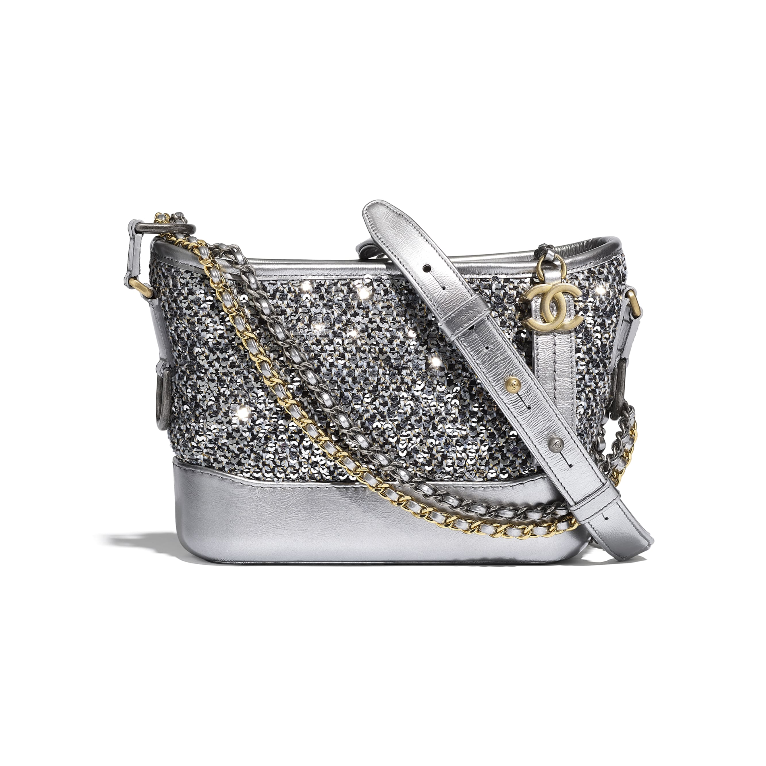 CHANEL'S GABRIELLE Small Hobo Bag - Silver, Black & Gold - Tweed, Sequins, Calfskin, Gold-Tone, Silver-Tone & Ruthenium-Finish Metal - CHANEL - Default view - see standard sized version