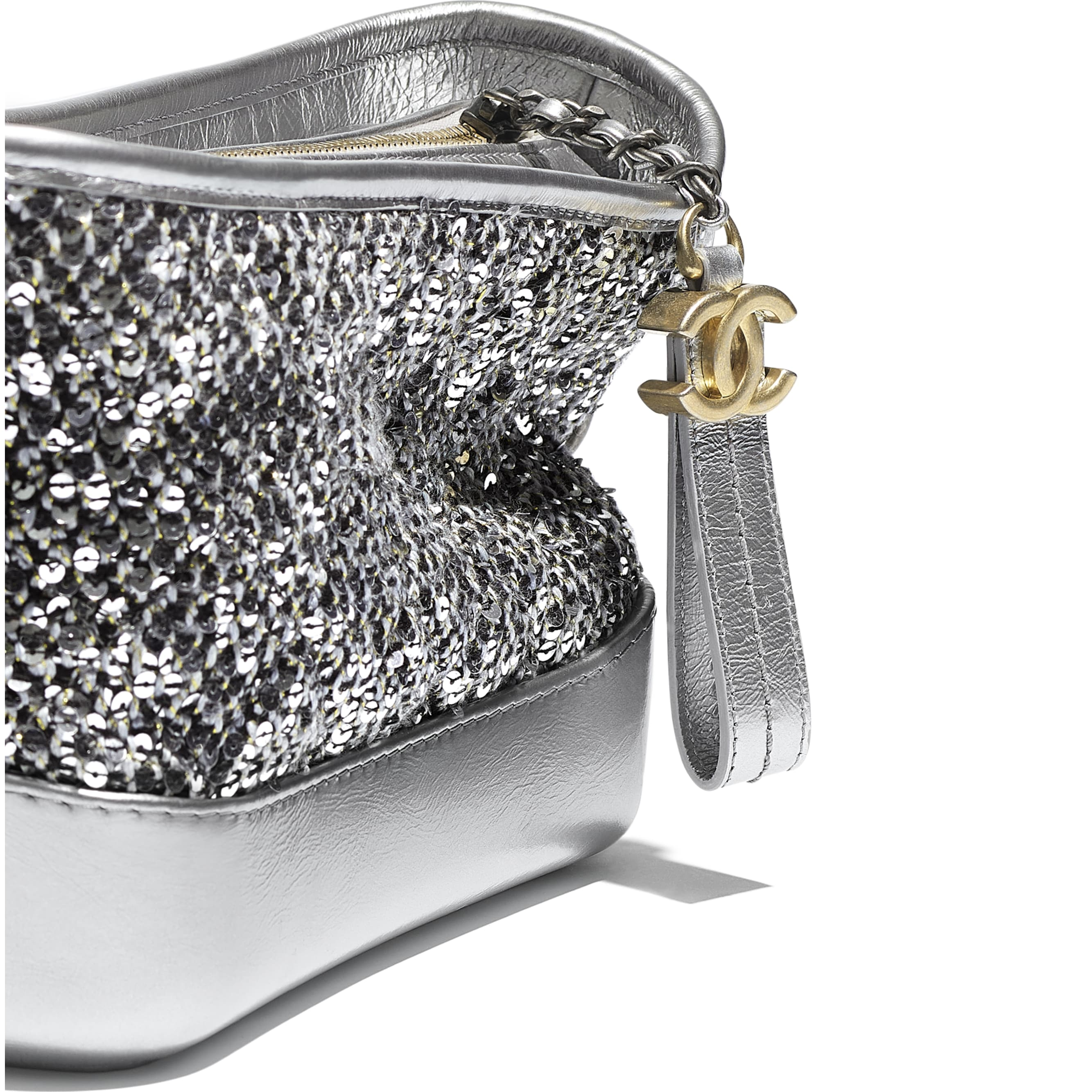 CHANEL'S GABRIELLE Small Hobo Bag - Silver, Black & Gold - Tweed, Sequins, Calfskin, Gold-Tone, Silver-Tone & Ruthenium-Finish Metal - CHANEL - Extra view - see standard sized version