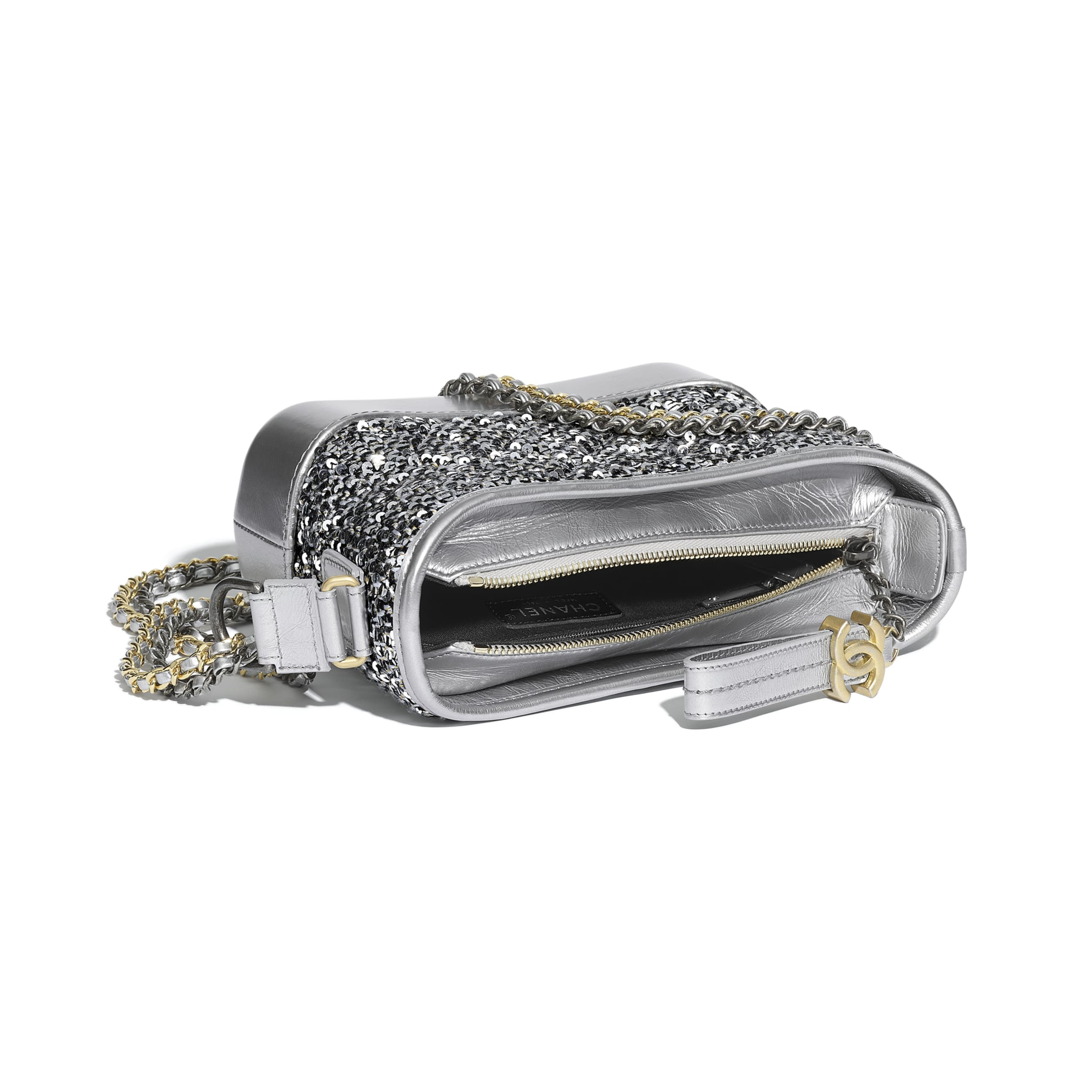 CHANEL'S GABRIELLE Small Hobo Bag - Silver, Black & Gold - Tweed, Sequins, Calfskin, Gold-Tone, Silver-Tone & Ruthenium-Finish Metal - CHANEL - Other view - see standard sized version