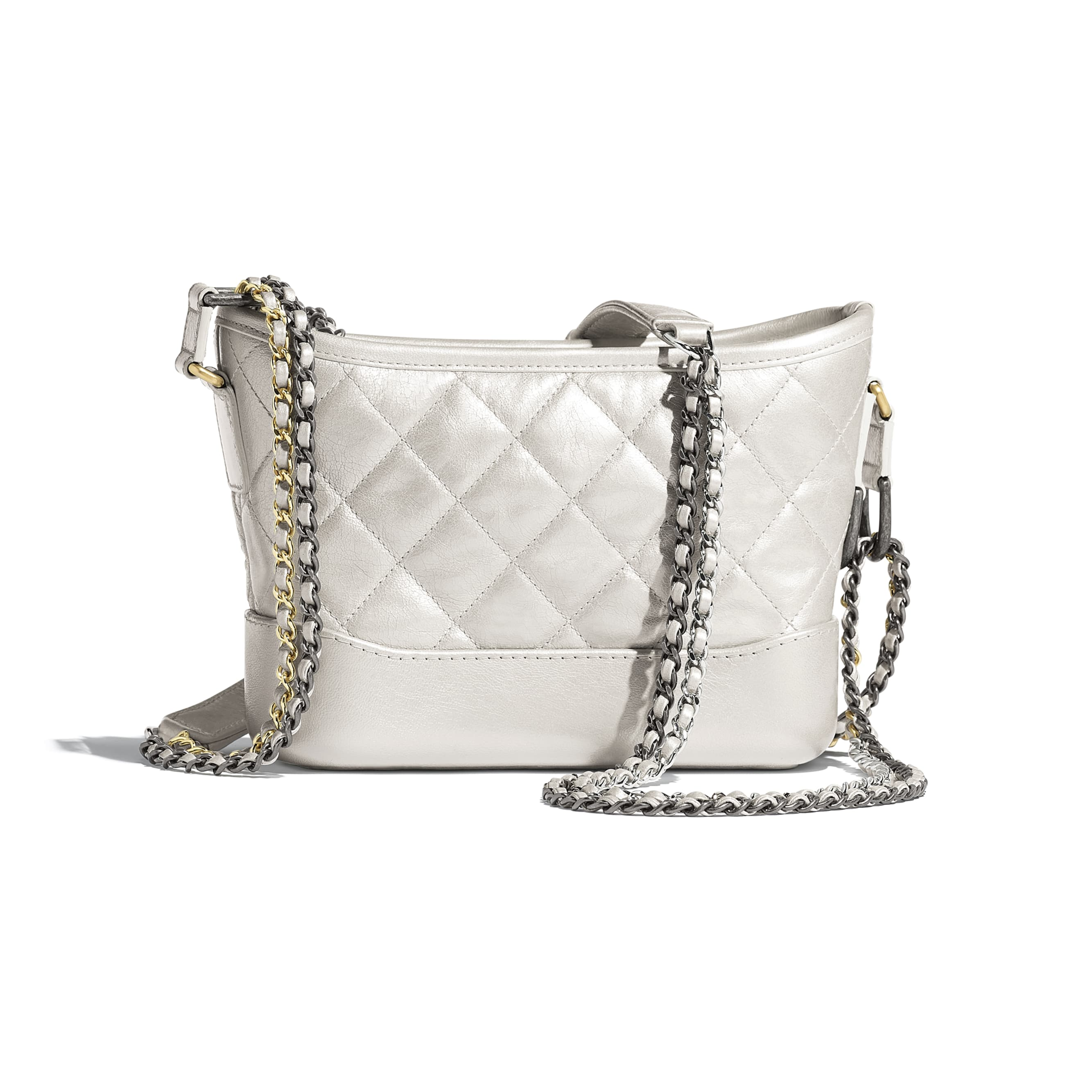 CHANEL'S GABRIELLE Small Hobo Bag - Silver - Metallic Crumpled Lambskin, Calfskin, Gold-Tone & Silver-Tone Metal - CHANEL - Alternative view - see standard sized version