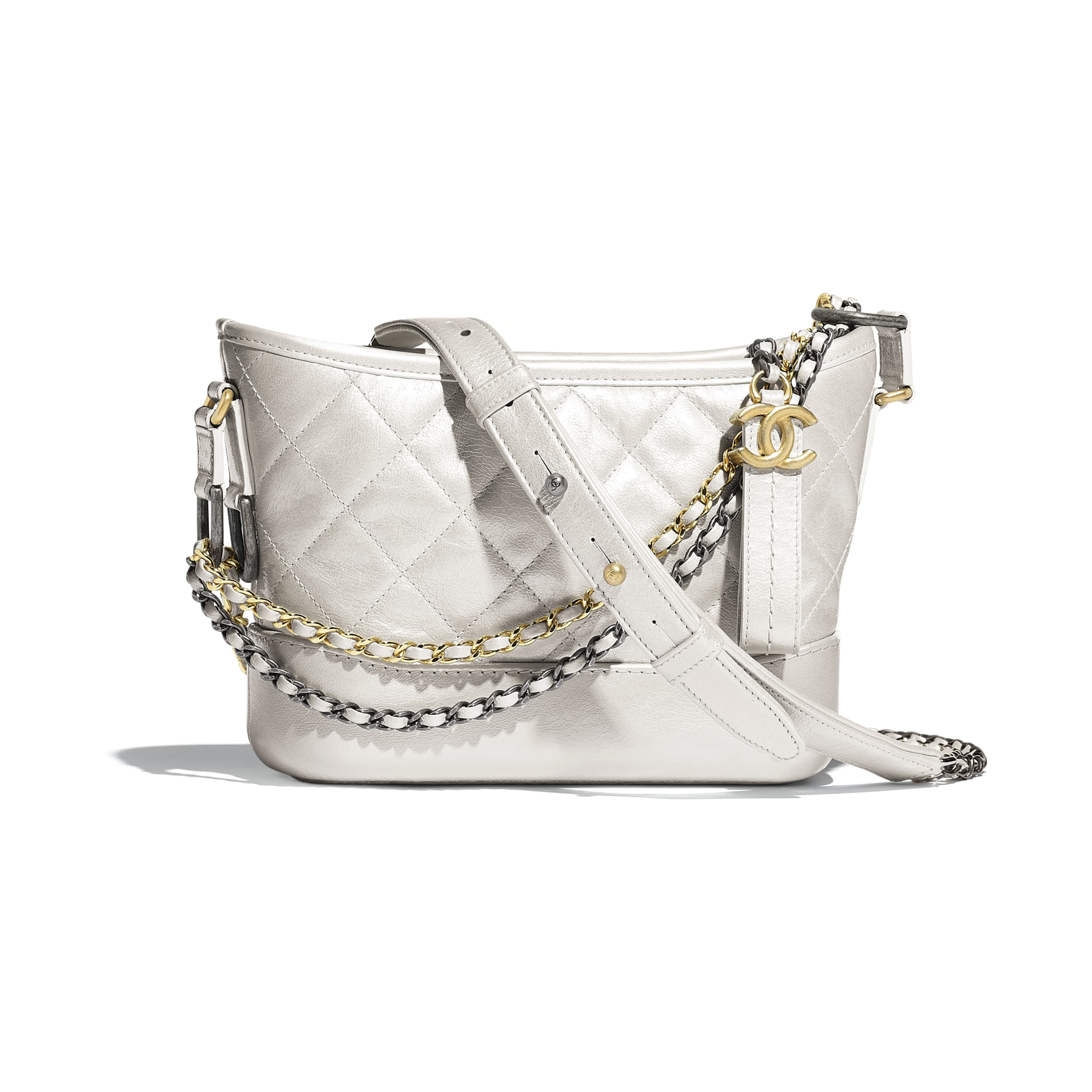 CHANEL'S GABRIELLE Small Hobo Bag - Silver - Metallic Crumpled Lambskin, Calfskin, Gold-Tone & Silver-Tone Metal - CHANEL - Default view - see standard sized version