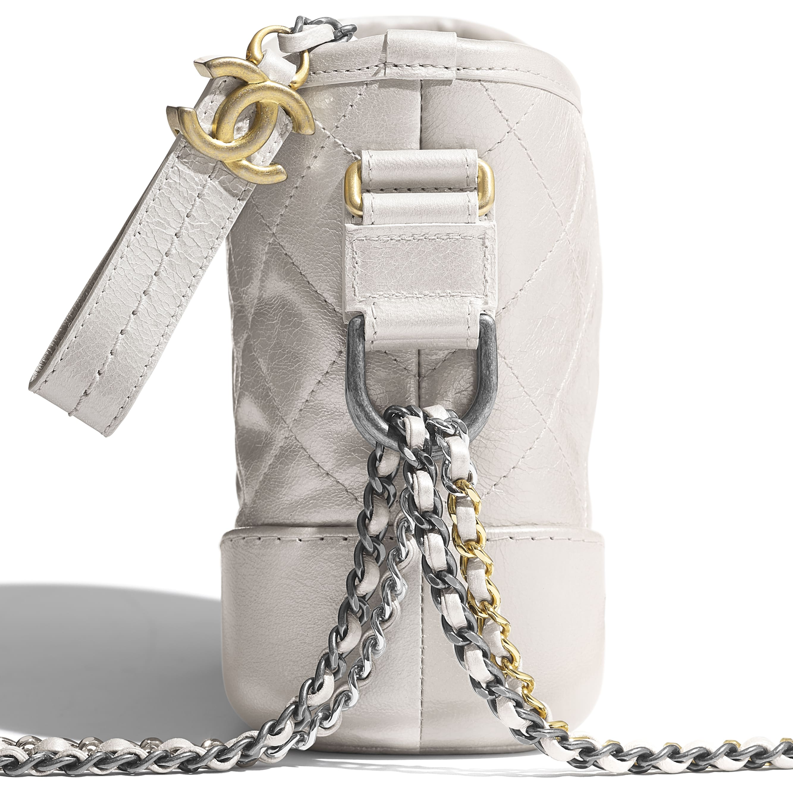 CHANEL'S GABRIELLE Small Hobo Bag - Silver - Metallic Crumpled Lambskin, Calfskin, Gold-Tone & Silver-Tone Metal - CHANEL - Extra view - see standard sized version