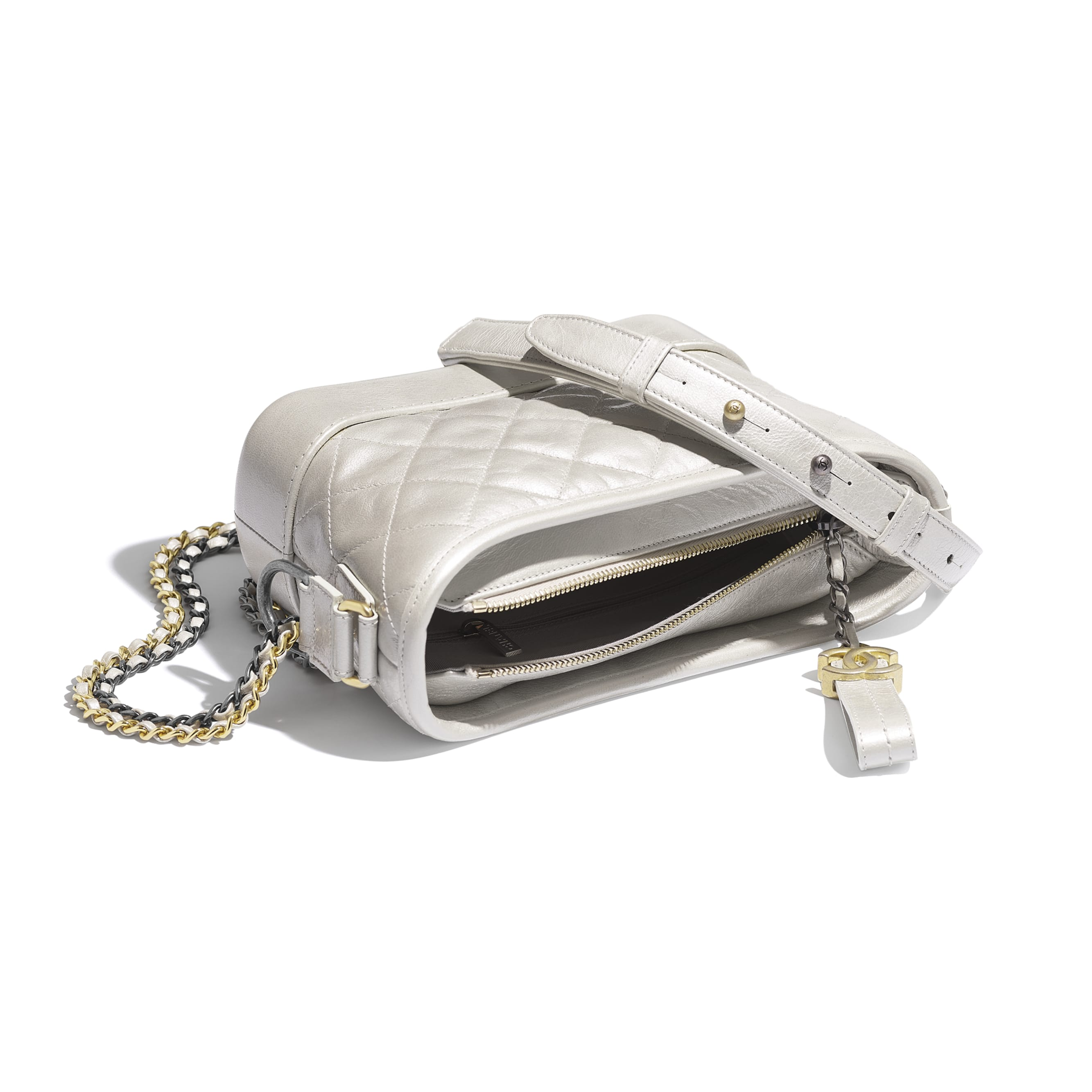 CHANEL'S GABRIELLE Small Hobo Bag - Silver - Metallic Crumpled Lambskin, Calfskin, Gold-Tone & Silver-Tone Metal - CHANEL - Other view - see standard sized version