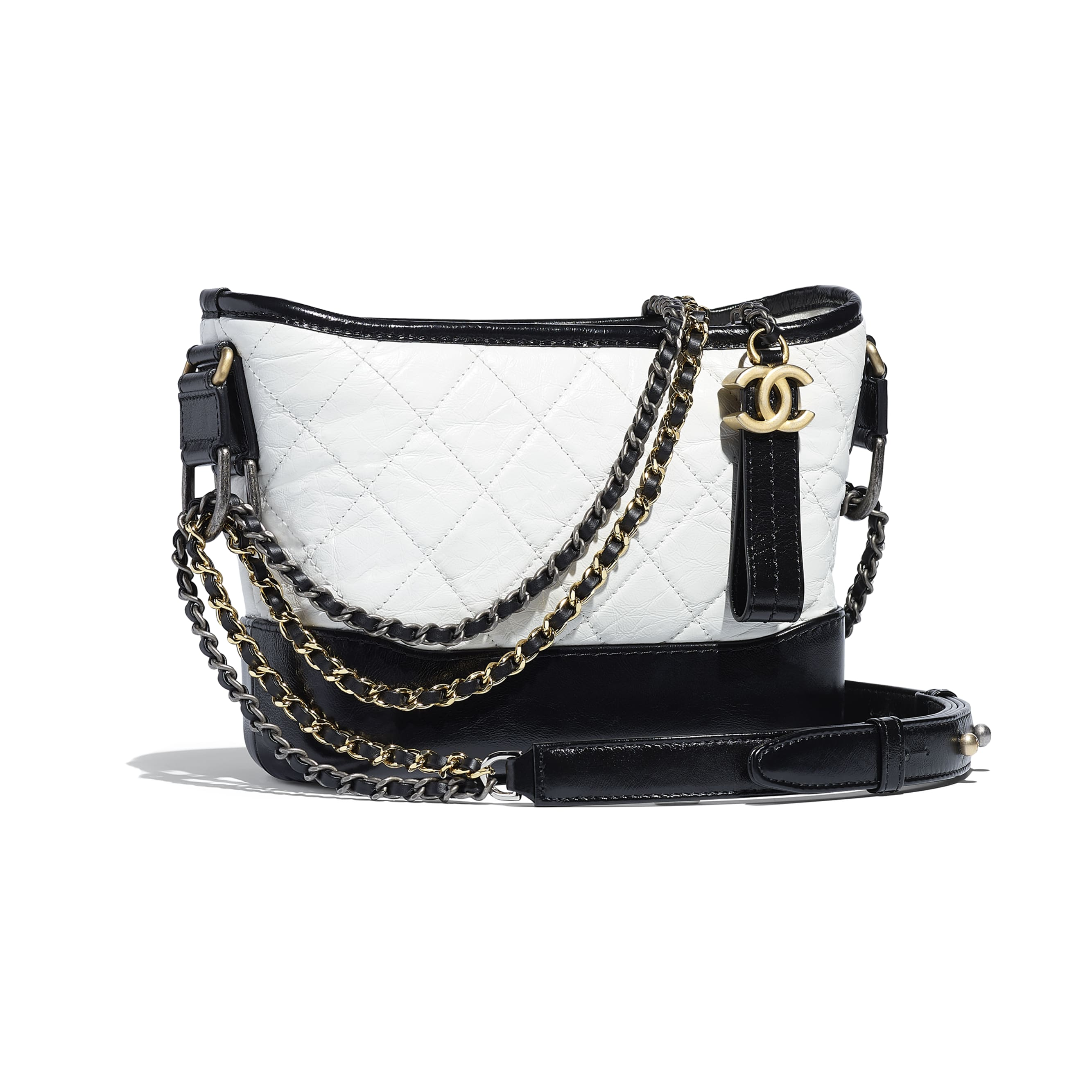 CHANEL'S GABRIELLE Small Hobo Bag - White & Black - Aged Calfskin, Smooth Calfskin, Gold-Tone, Silver-Tone & Ruthenium-Finish Metal - CHANEL - Other view - see standard sized version
