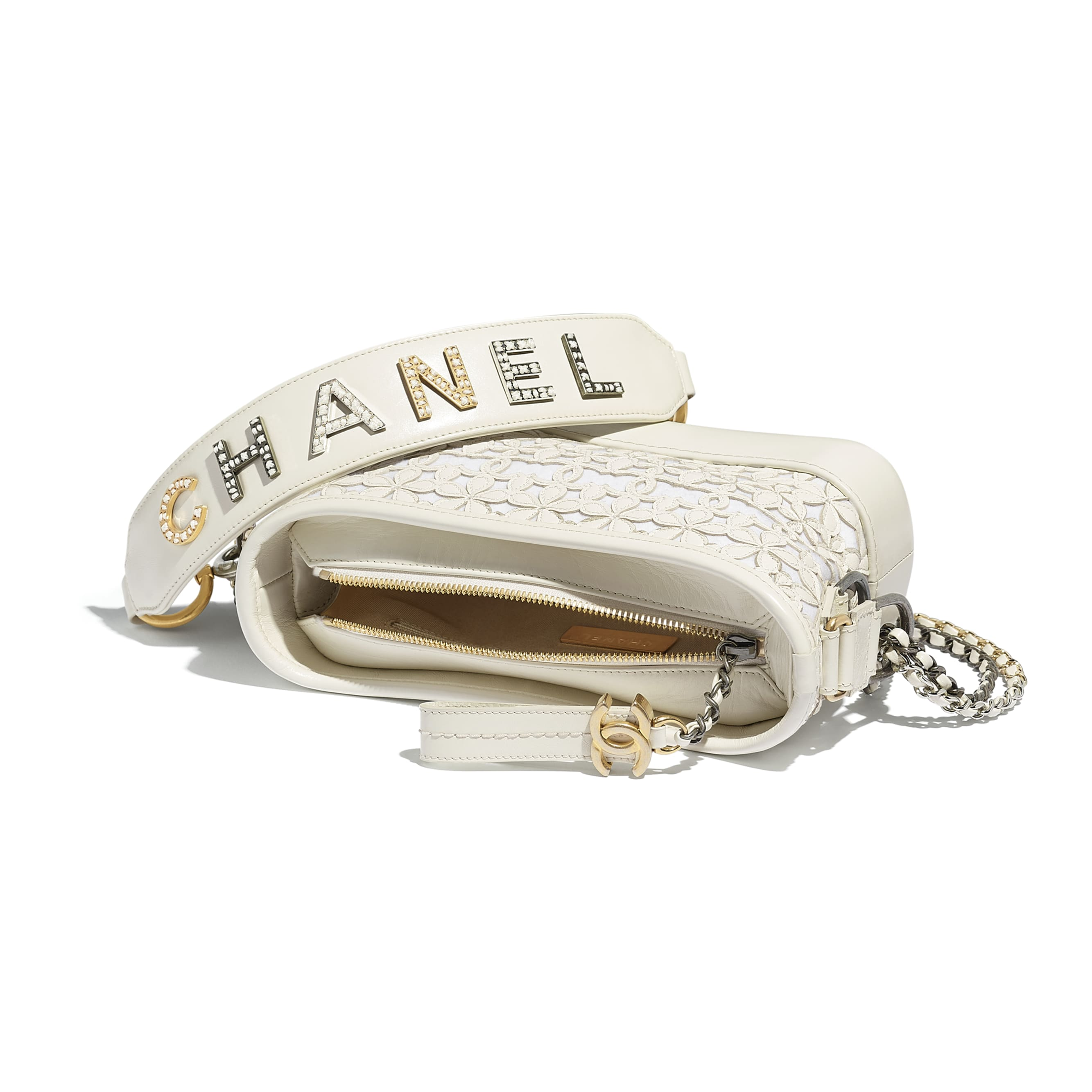CHANEL'S GABRIELLE Small Hobo Bag - White - Calfskin, Wool Felt, Gold-Tone, Silver-Tone & Ruthenium-Finish Metal - Other view - see standard sized version