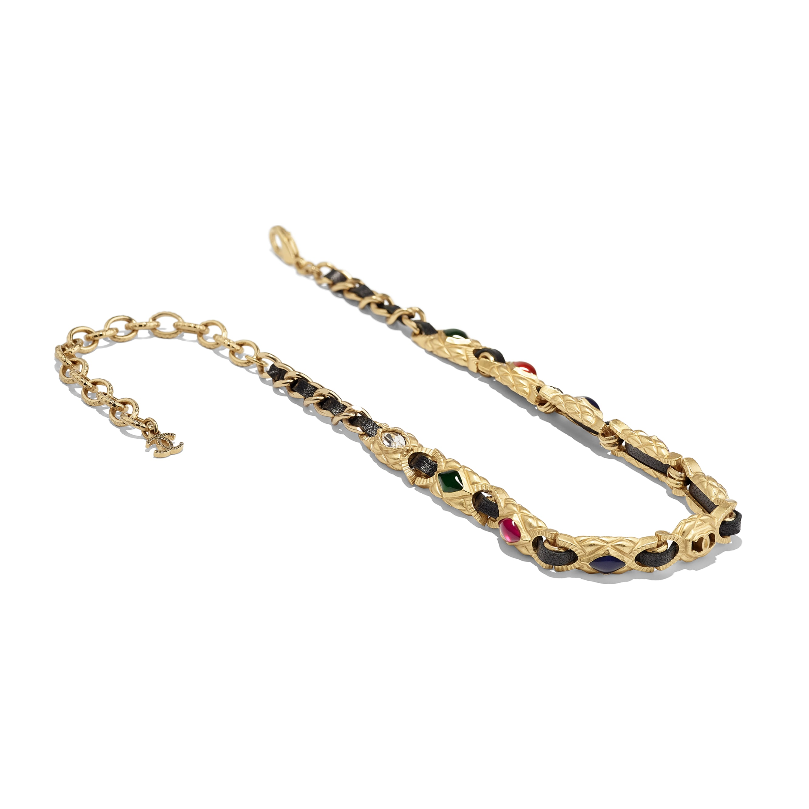 Choker - Gold, Black, Crystal & Multicolor - Metal, lambskin, diamanté & resin - Alternative view - see standard sized version